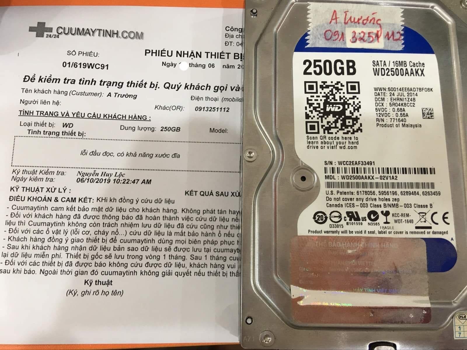 Cứu dữ liệu ổ cứng Western 250GB lỗi đầu đọc 19/06/2019 - cuumaytinh