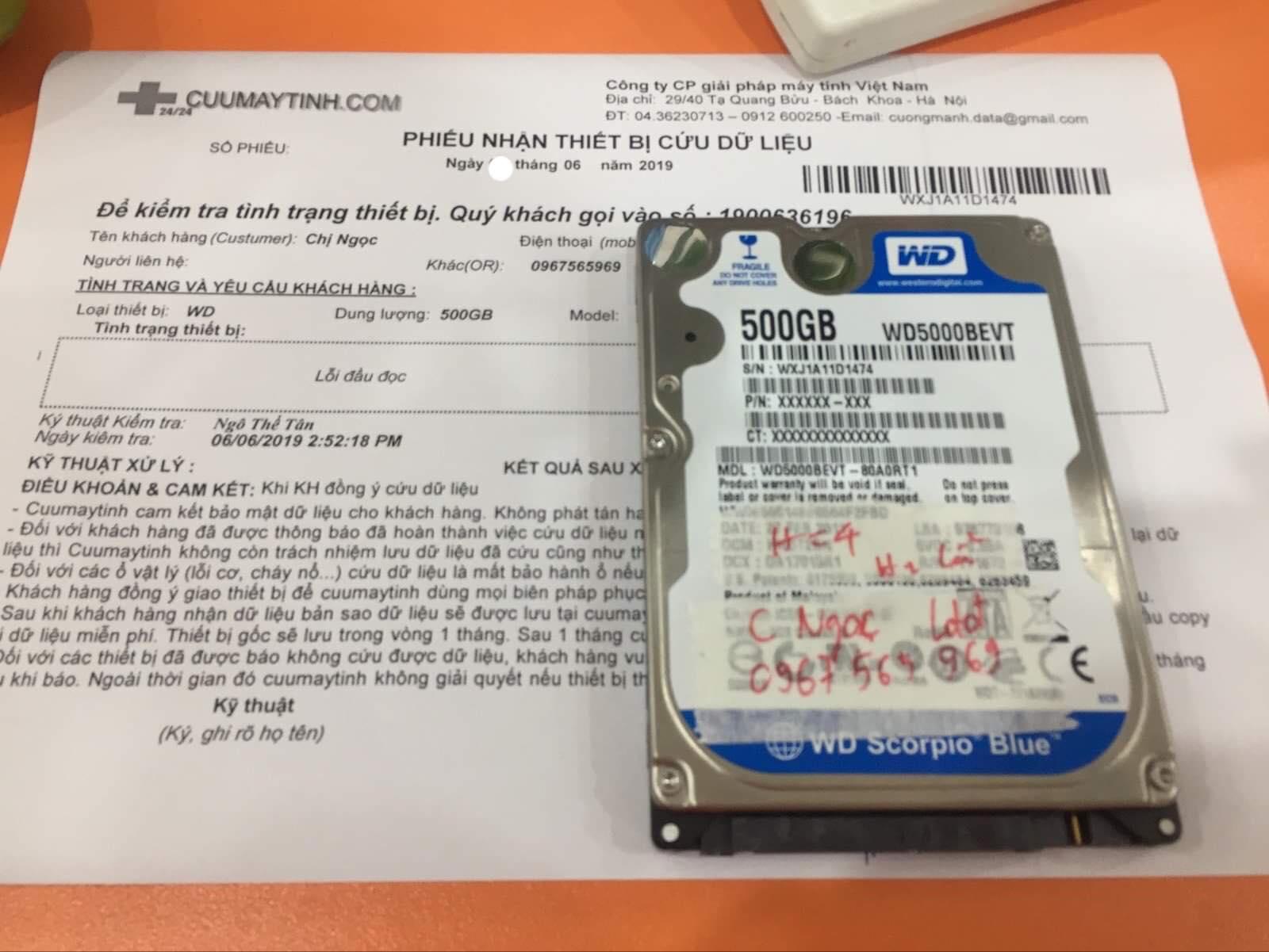Cứu dữ liệu ổ cứng Western 500GB lỗi đầu đọc 12/06/2019 - cuumaytinh