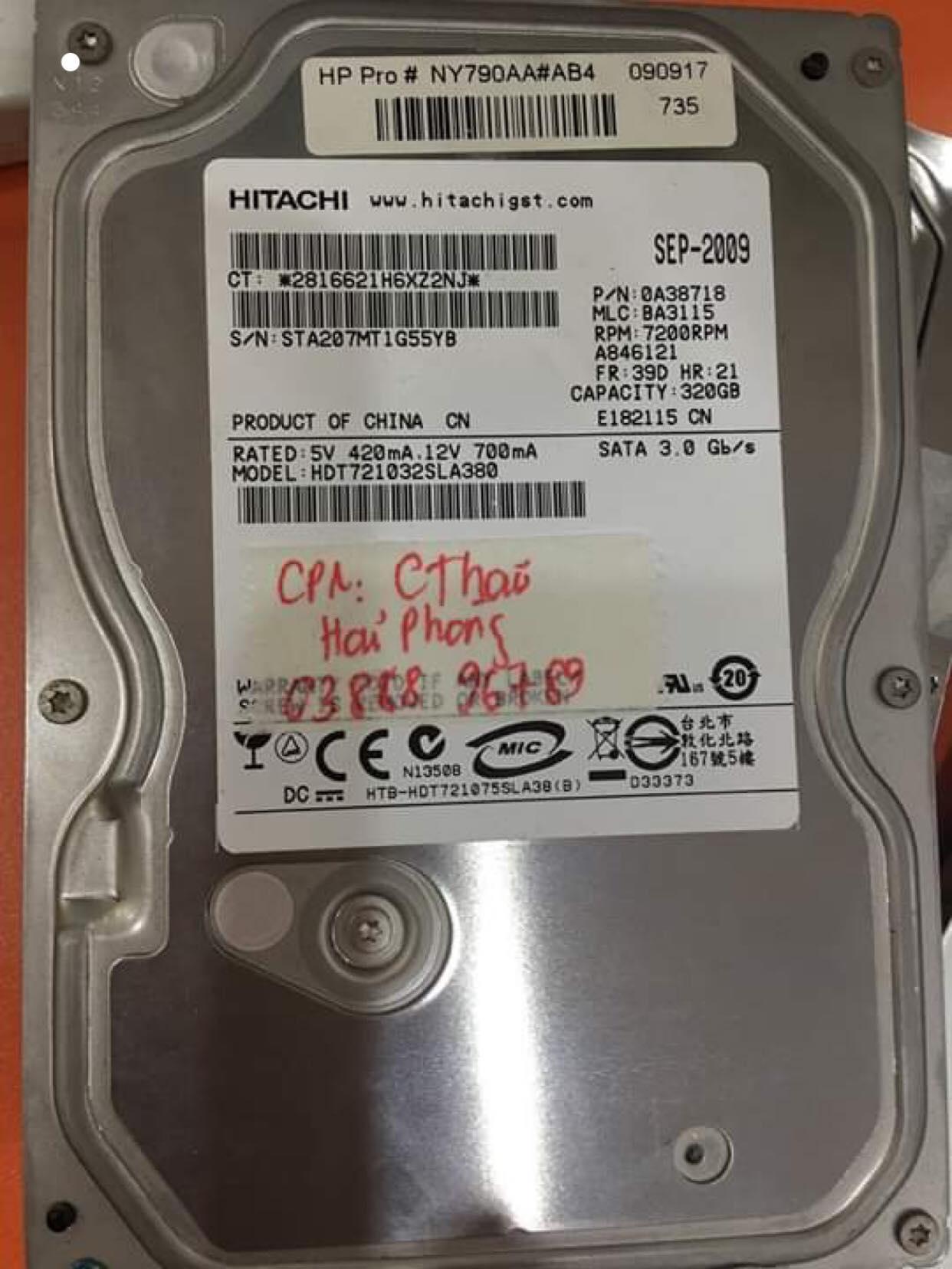 Lấy dữ liệu ổ cứng Hitachi 320GB không nhận tại Hải Phòng 25/06/2019 - cuumaytinh