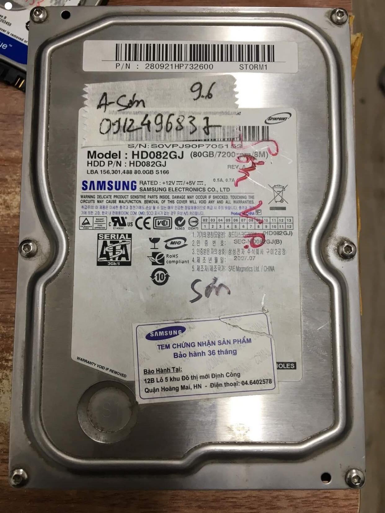 Lấy dữ liệu ổ cứng Samsung 80GB lỗi cơ 13/06/2019 - cuumaytinh