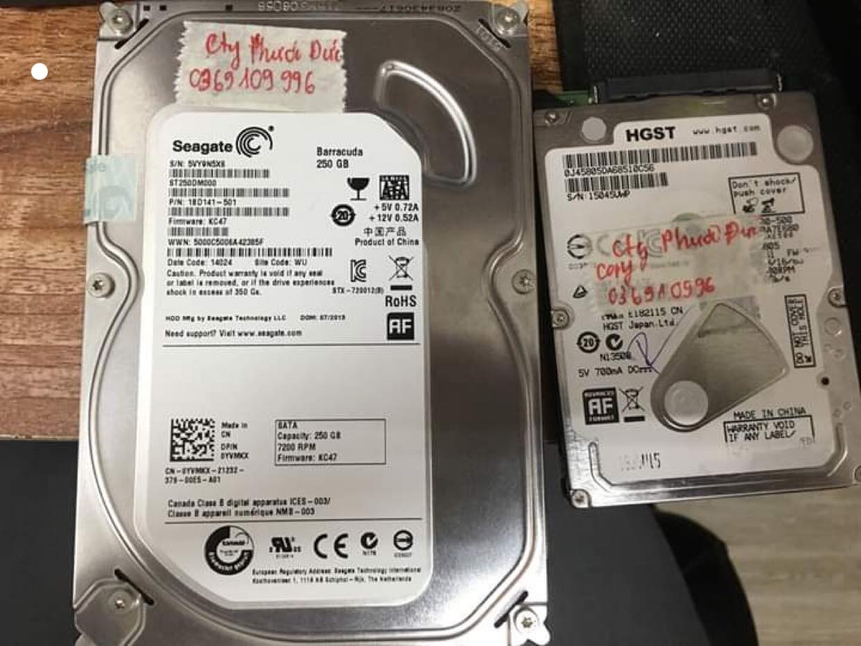 Lấy dữ liệu ổ cứng Seagate 250GB lỗi cơ  24/06/2019 - cuumaytinh