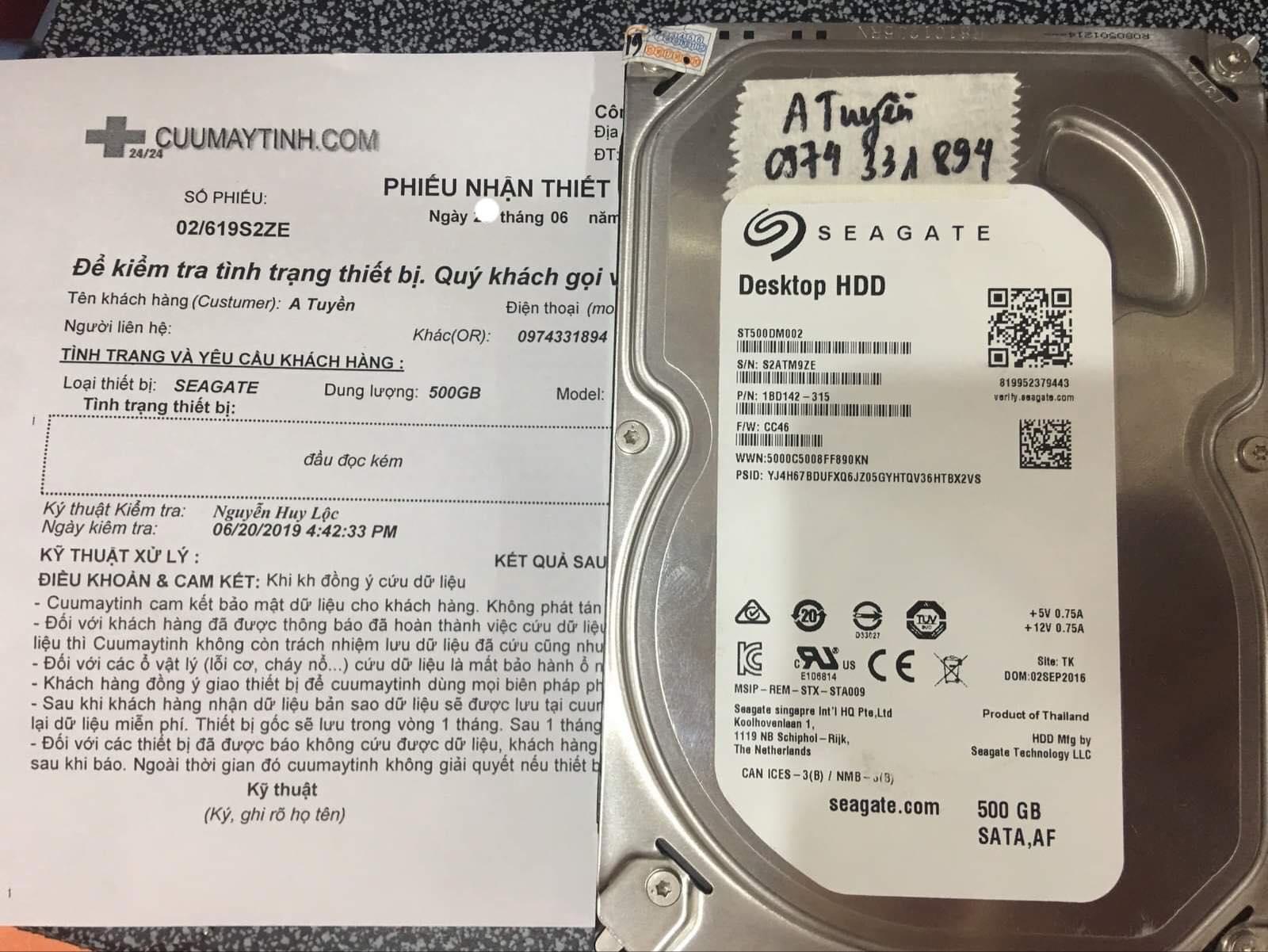 Phục hồi dữ liệu ổ cứng Seagate 500GB đầu đọc kém 24/06/2019. - cuumaytinh