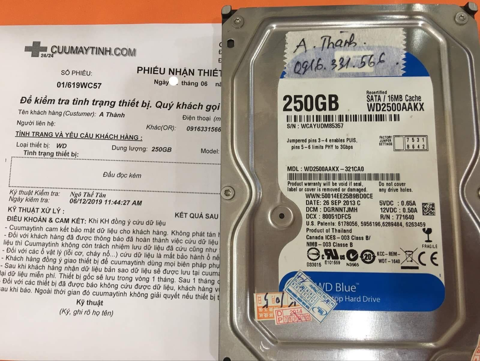Phục hồi dữ liệu ổ cứng Western 250GB đầu đọc kém 19/06/2019 - cuumaytinh