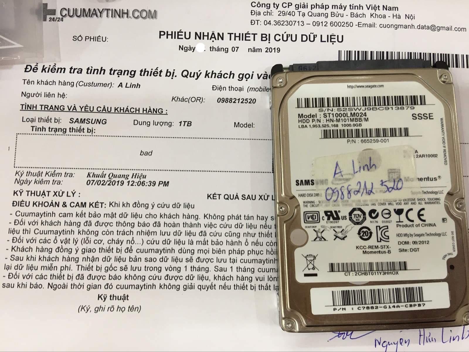 Cứu dữ liệu ổ cứng Samsung 1TB bad 18/07/2019 - cuumaytinh