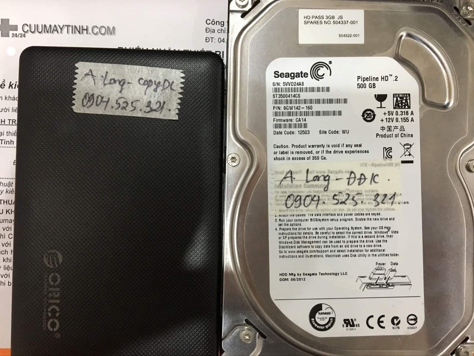Cứu dữ liệu ổ cứng Seagate 500GB đầu đọc kém 29/06/2019 - cuumaytinh
