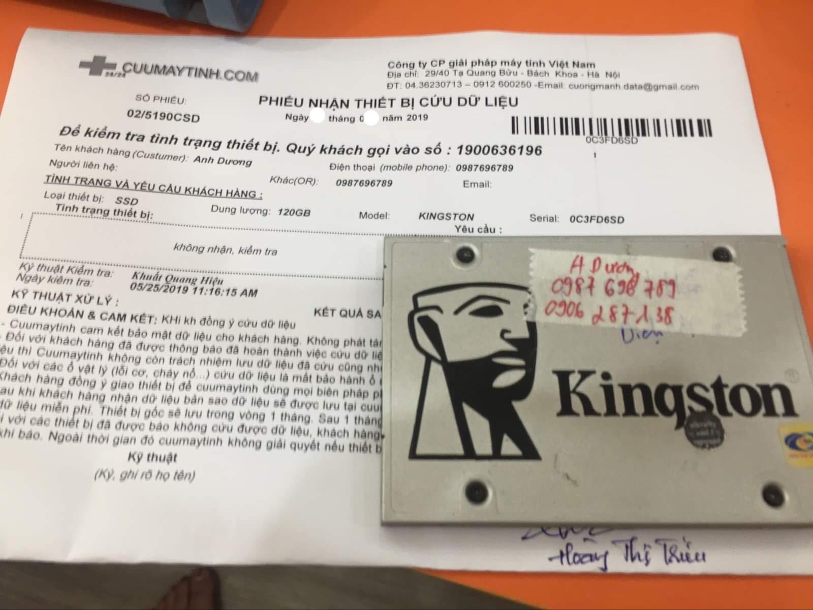 Khôi phục dữ liệu ổ cứng SSD Kingston 120GB không nhận 19/07/2019 - cuumaytinh