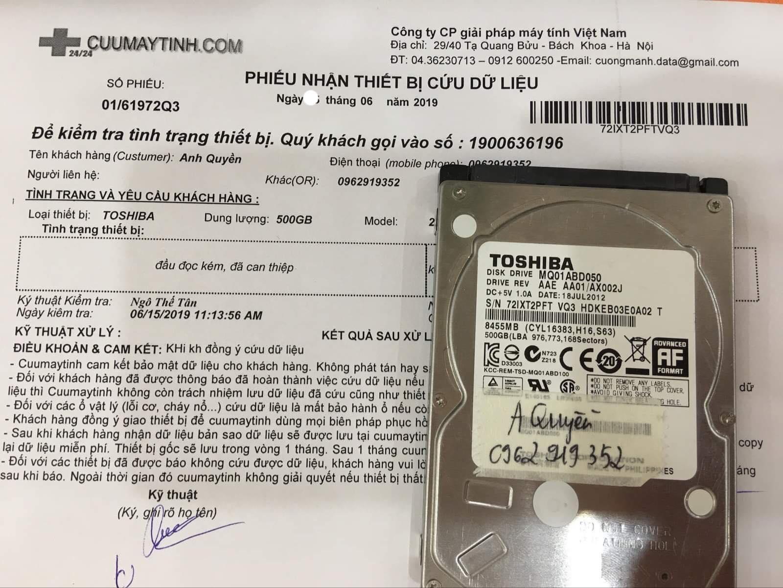 Khôi phục dữ liệu ổ cứng Toshiba 500GB đầu đọc kém 27/06/2019 - cuumaytinh