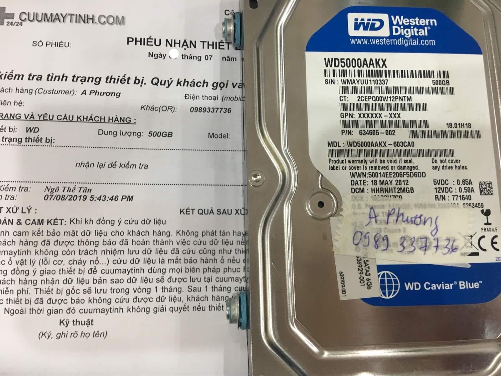 Khôi phục dữ liệu ổ cứng Western 500GB lỗi cơ 20/07/2019 - cuumaytinh
