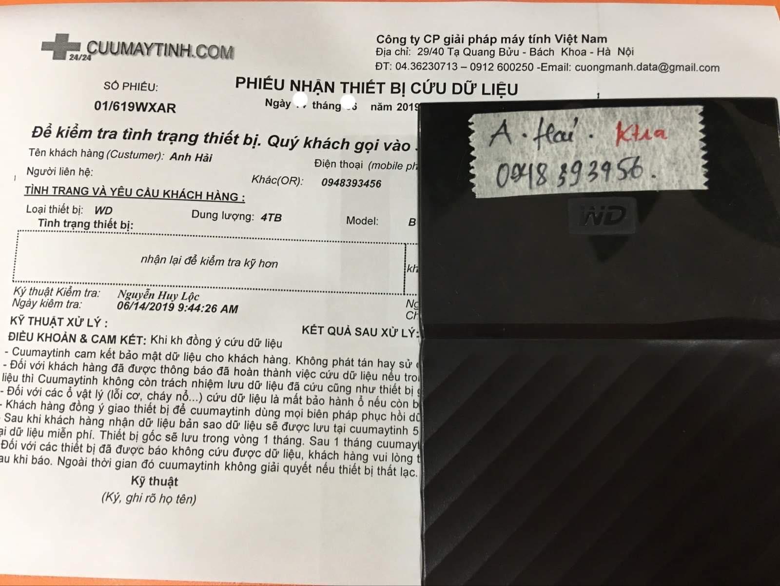 Khôi phục dữ liệu ổ cứng Western 4TB không nhận 02/07/2019 - cuumaytinh