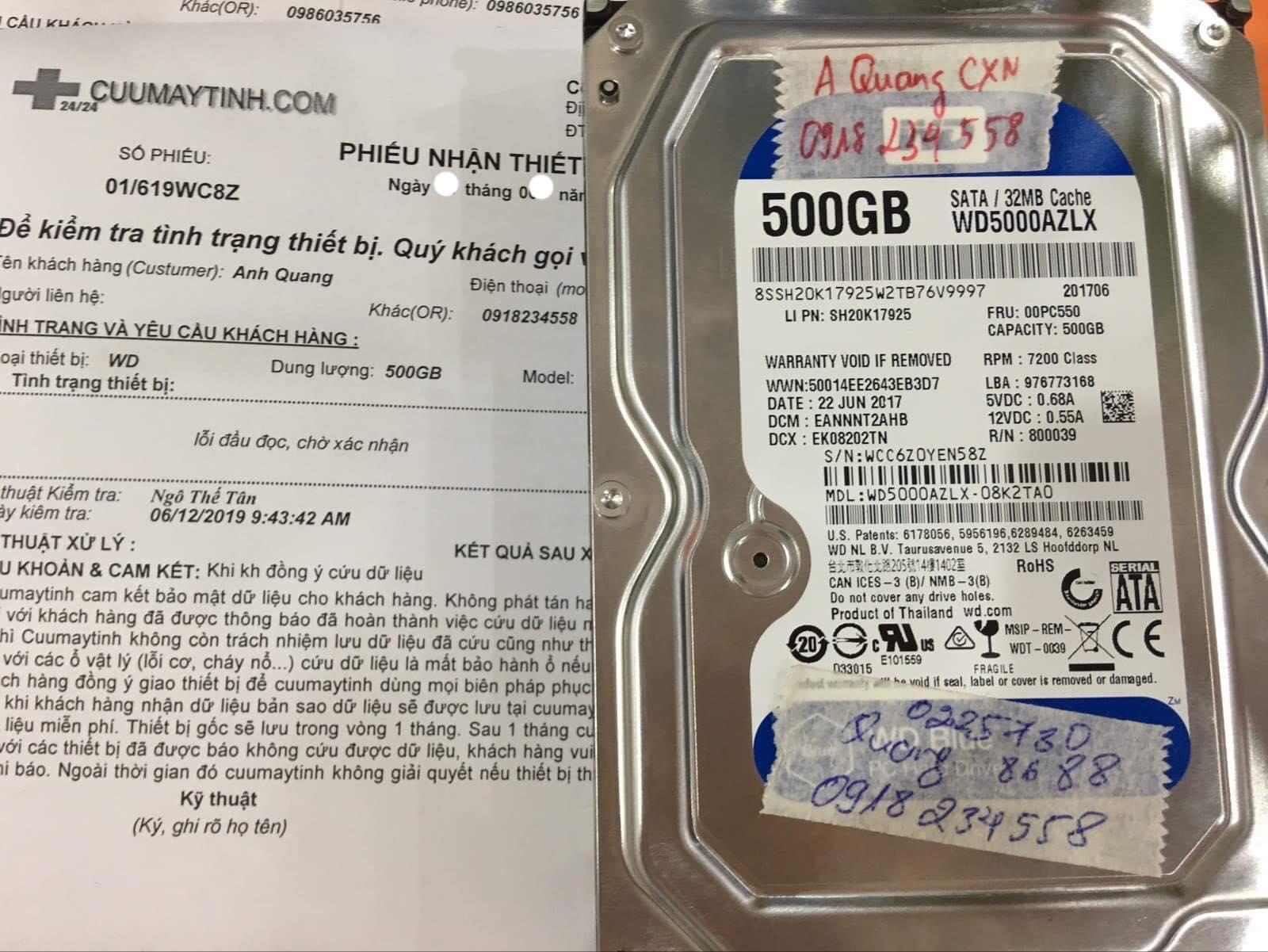 Khôi phục dữ liệu ổ cứng Western 500GB lỗi đầu đọc 04/07/2019 - cuumaytinh