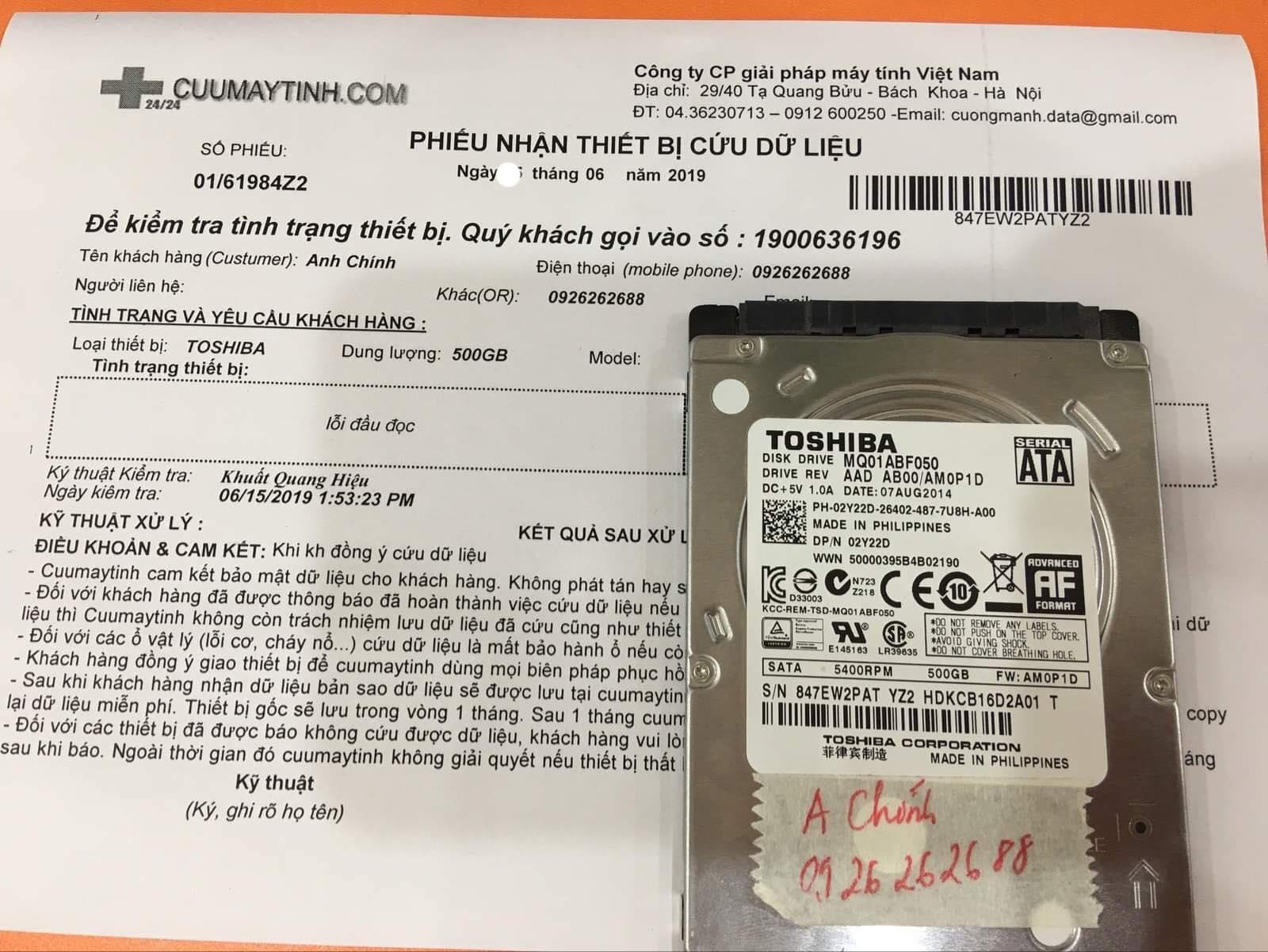 Khôi phục dữ liệu ổ cứng Toshiba 500GB lỗi đầu đọc 29/06/2019 - cuumaytinh