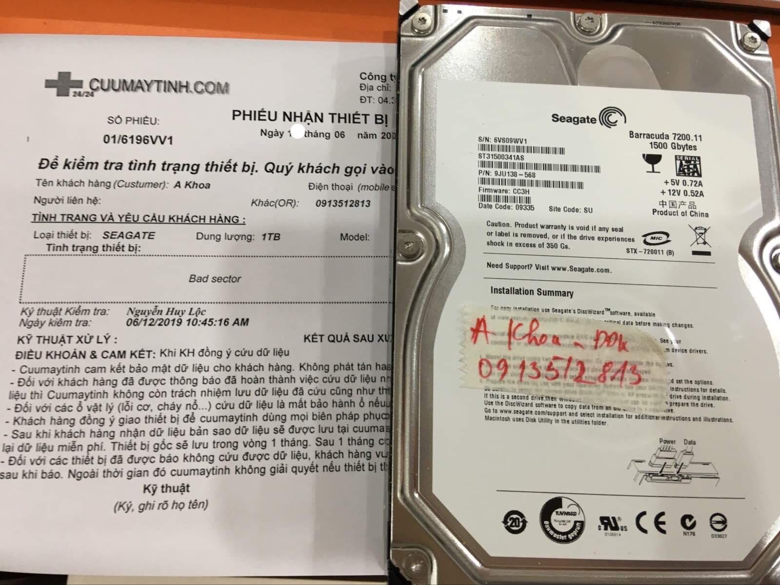 Lấy dữ liệu ổ cứng Seagate 1TB bad sector 28/06/2019 - cuumaytinh