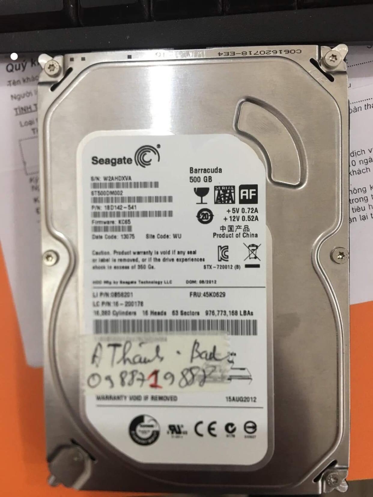 Lấy dữ liệu ổ cứng Seagate 500GB bad 03/07/2019 - cuumaytinh