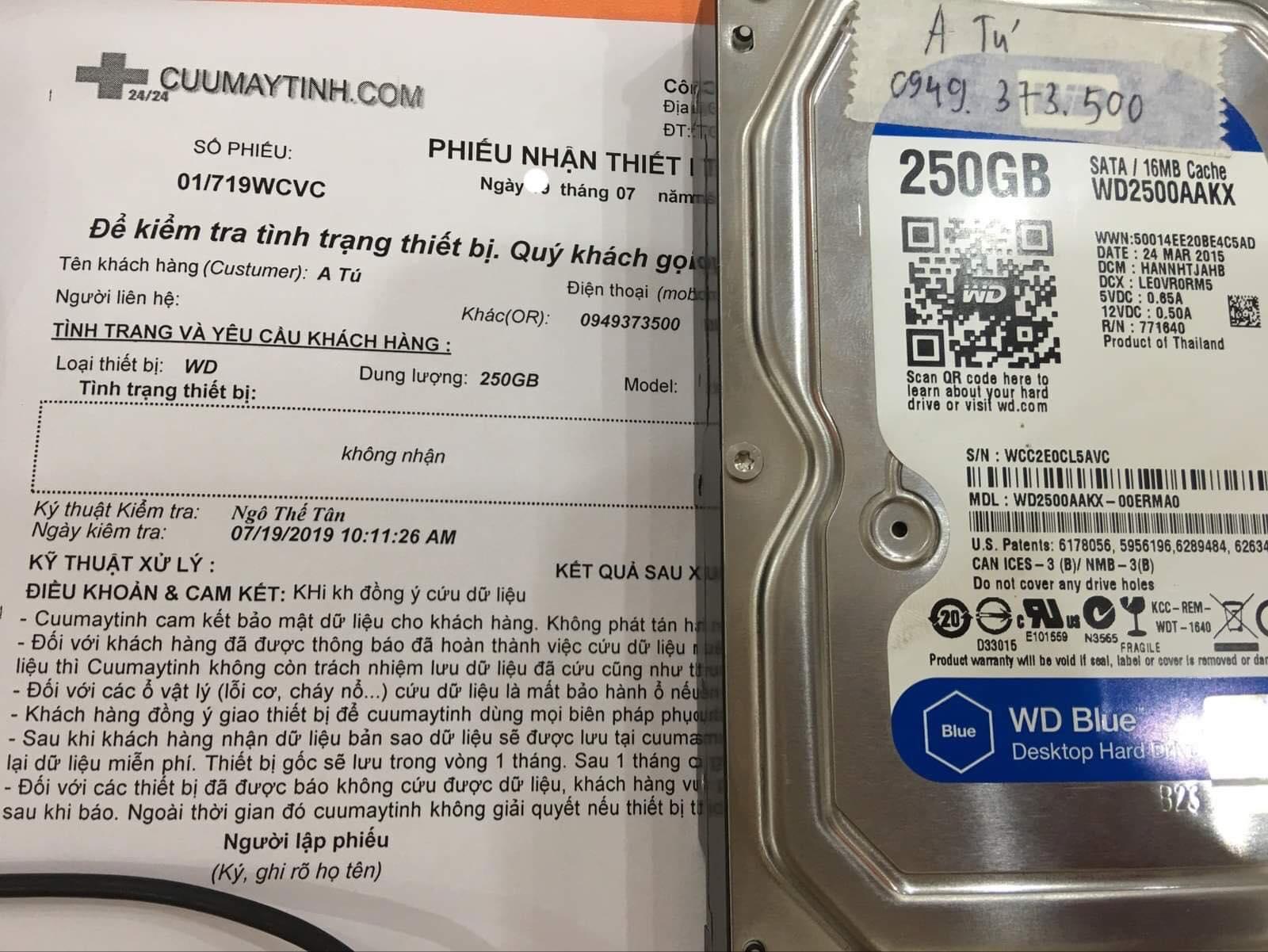 Lấy dữ liệu ổ cứng Western 250GB không nhận 26/07/2019 - cuumaytinh