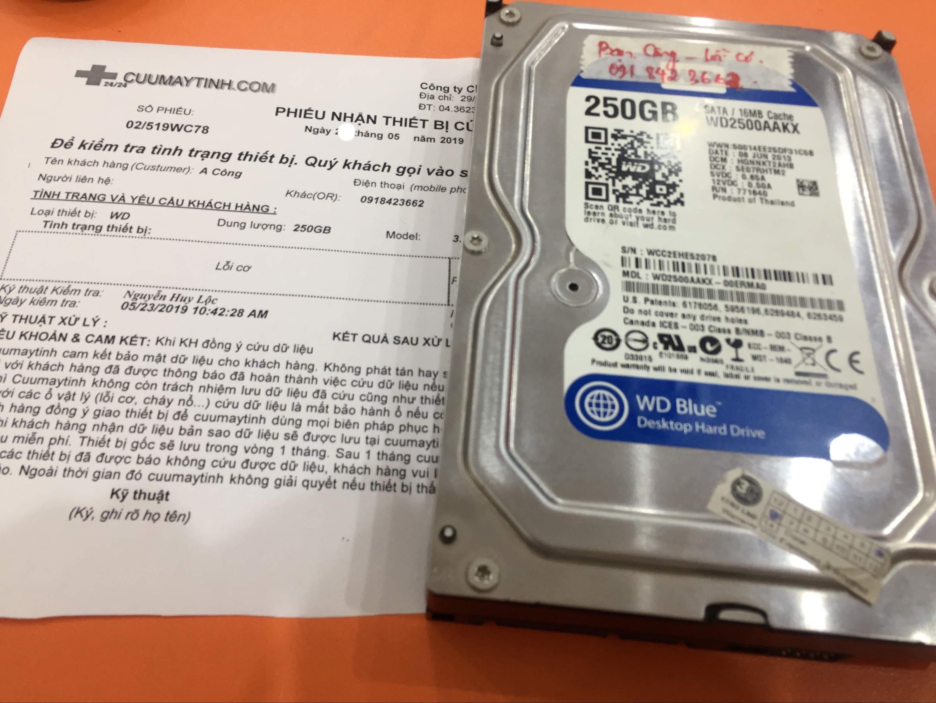 Lấy dữ liệu ổ cứng Western 250GB lỗi cơ 27/06/2019 - cuumaytinh