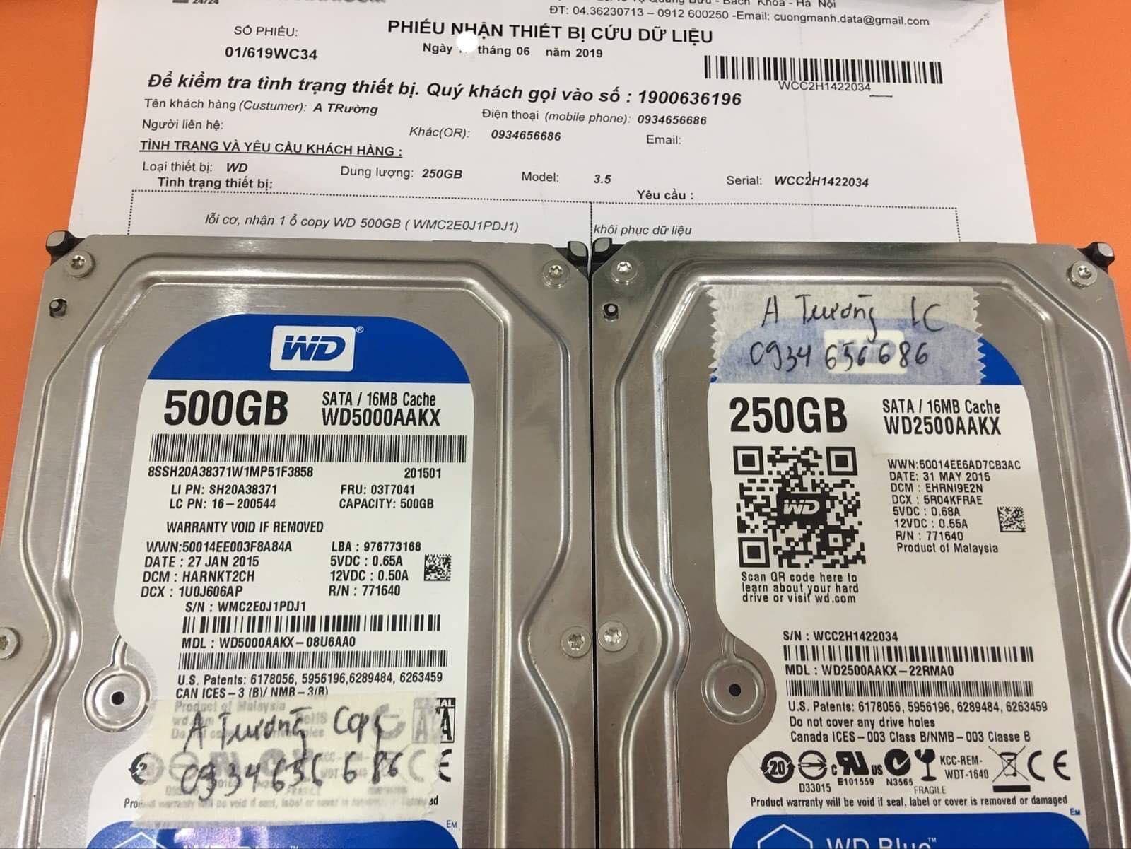 Lấy dữ liệu ổ cứng Western 250GB lỗi cơ 29/06/2019 - cuumaytinh
