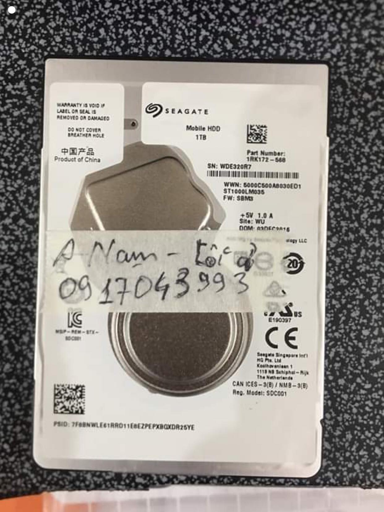 Phục hồi dữ liệu ổ cứng Seagate 1TB bó cơ 18/07/2019 - cuumaytinh