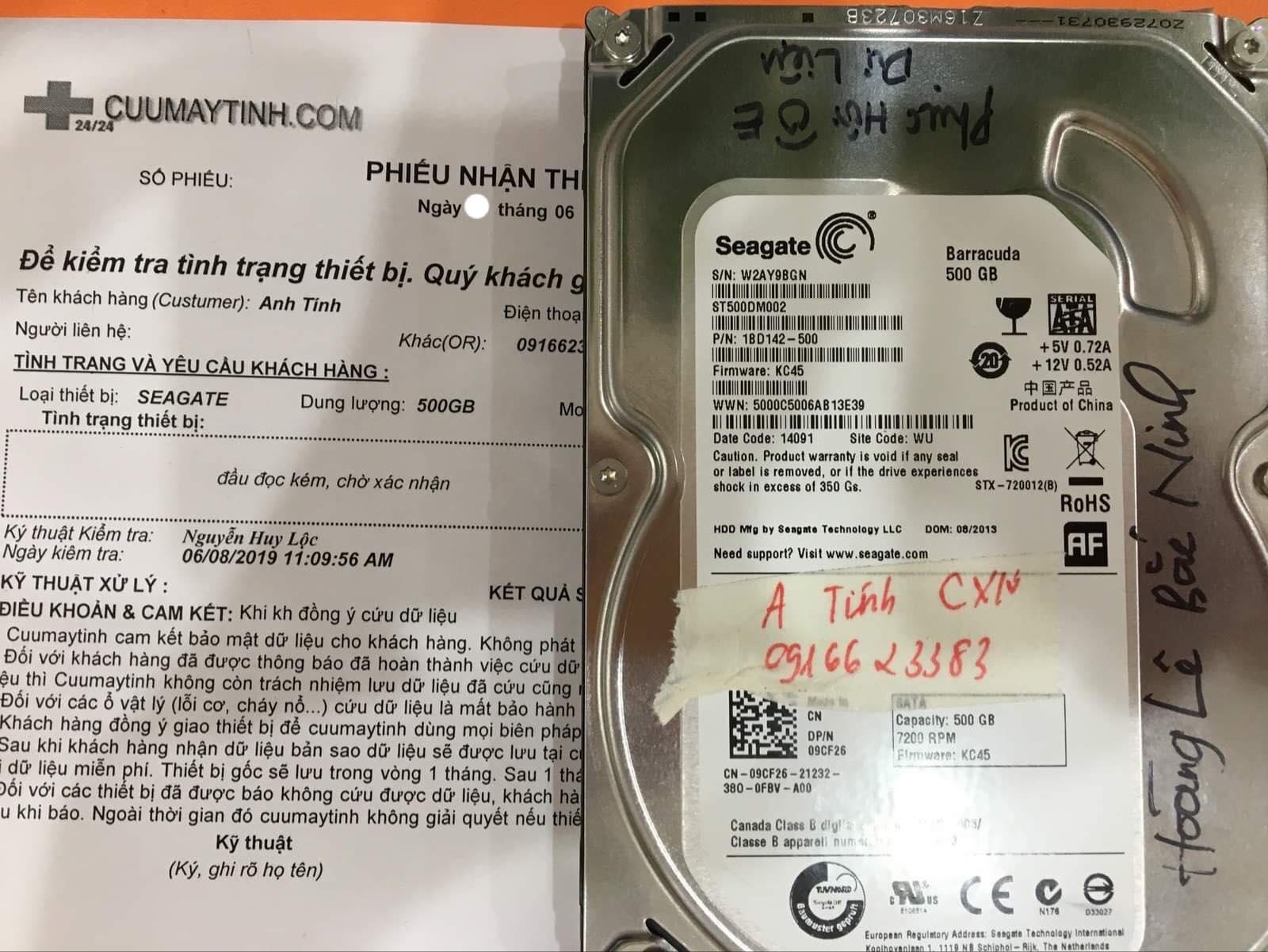 Phục hồi dữ liệu ổ cứng Seagate 500GB đầu đọc kém 27/06/2019 - cuumaytinh