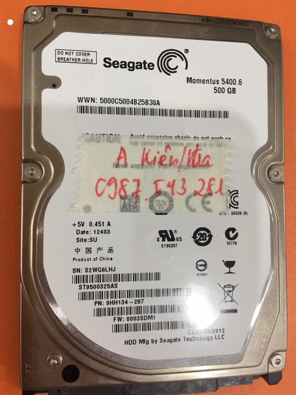 Phục hồi dữ liệu ổ cứng Seagate 500GB lỗi đầu đọc 08/07/2019 - cuumaytinh