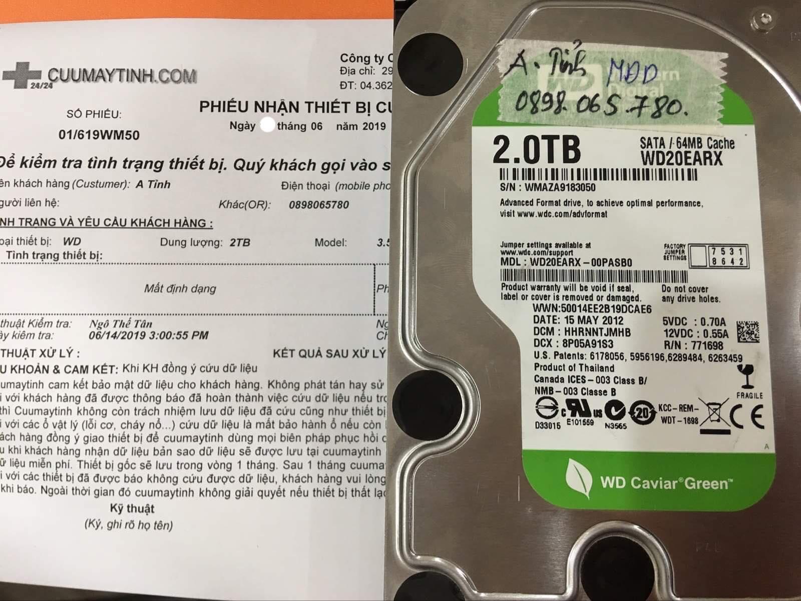 Phục hồi dữ liệu ổ cứng Western 2TB mất định dạng 28/06/2019 - cuumaytinh