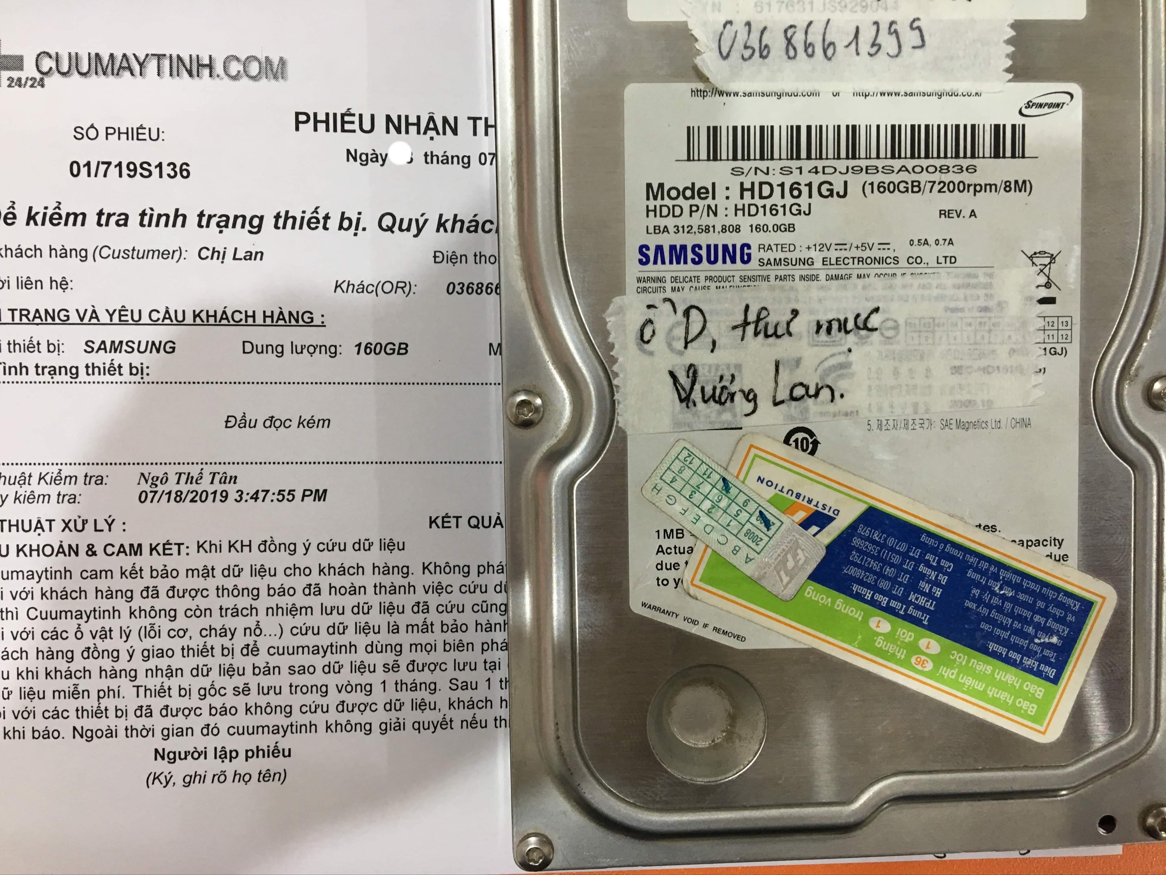Cứu dữ liệu ổ cứng Samsung 160GB đầu đọc kém 25/07/2019 - cuumaytinh