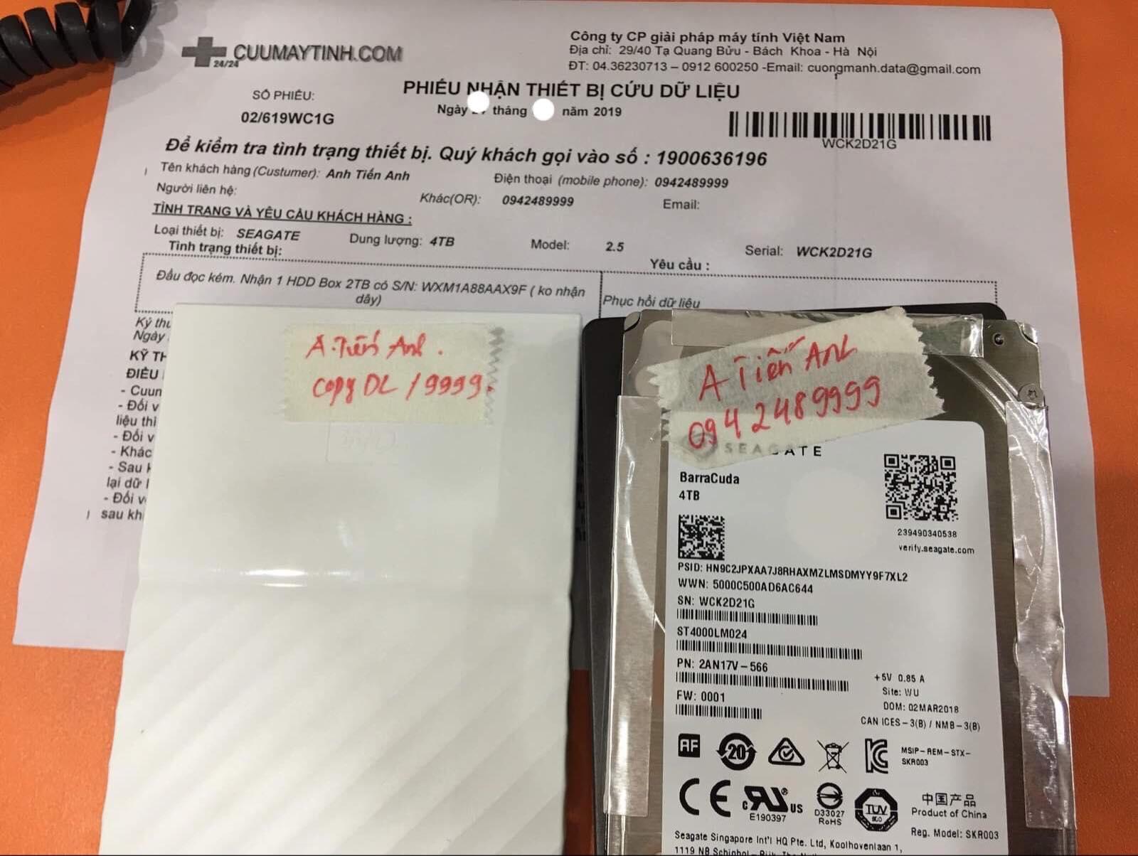 Cứu dữ liệu ổ cứng Seagate 4TB đầu đọc kém 01/07/2019 - cuumaytinh