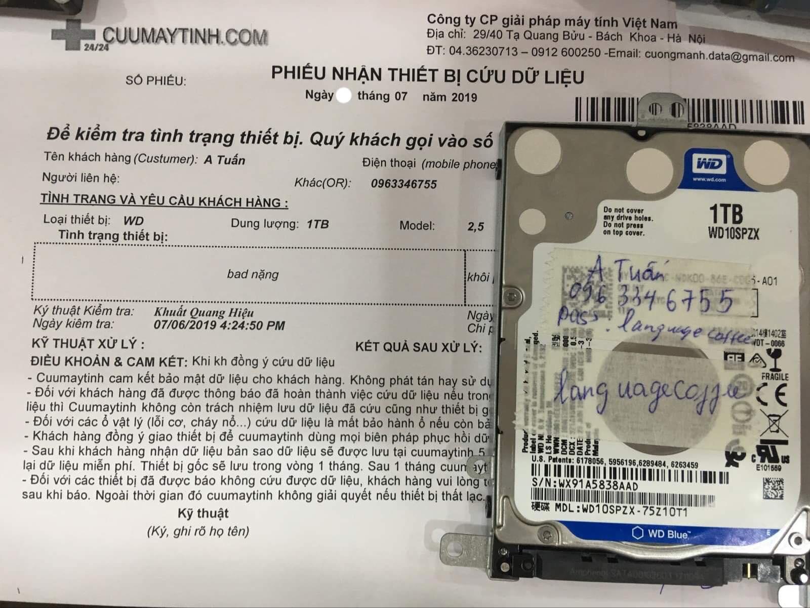 Cứu dữ liệu ổ cứng Western 1TB bad 23/07/2019 - cuumaytinh