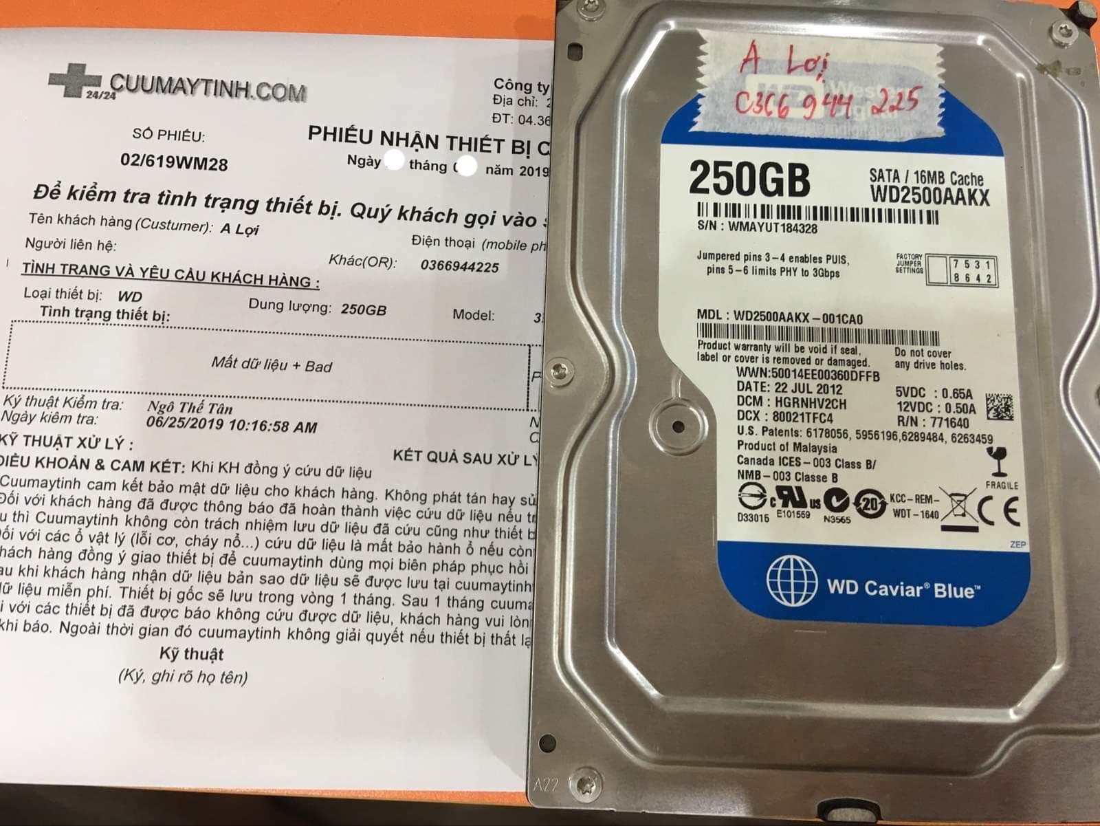 Cứu dữ liệu ổ cứng Western 250GB format nhầm 12/07/2019 - cuumaytinh