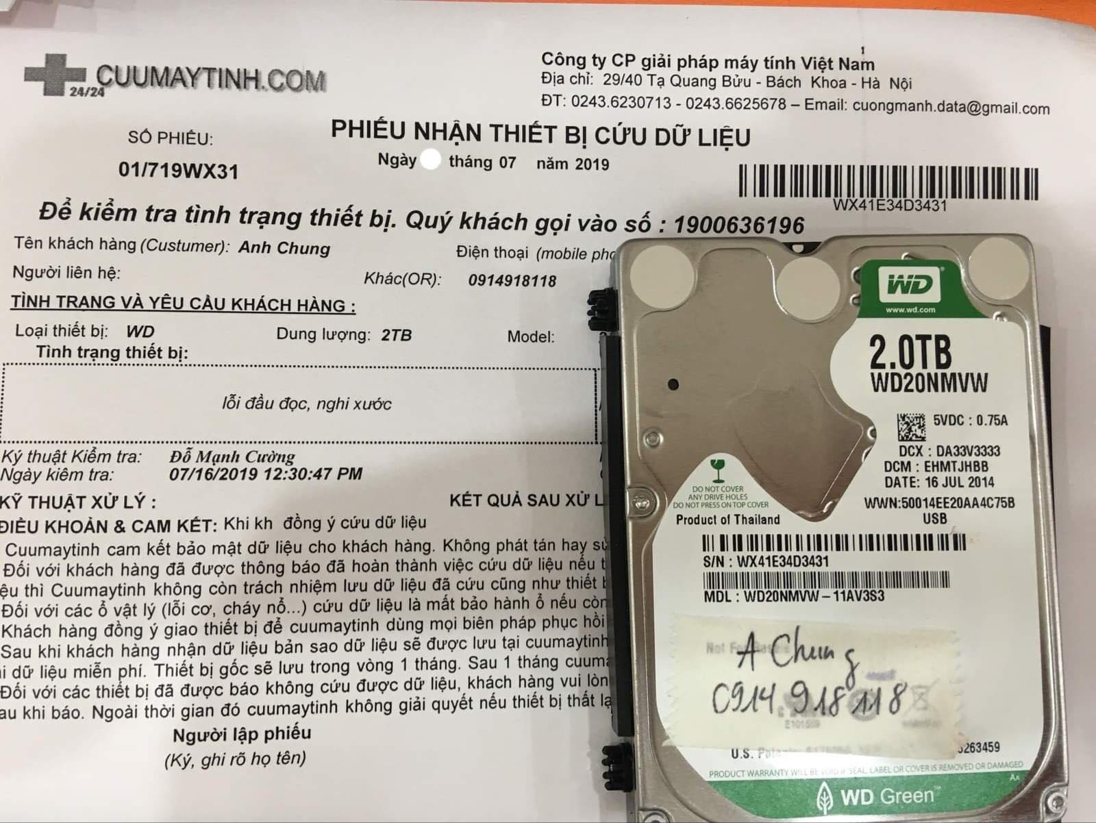 Cứu dữ liệu ổ cứng Western 2TB lỗi đầu đọc 29/07/2019 - cuumaytinh
