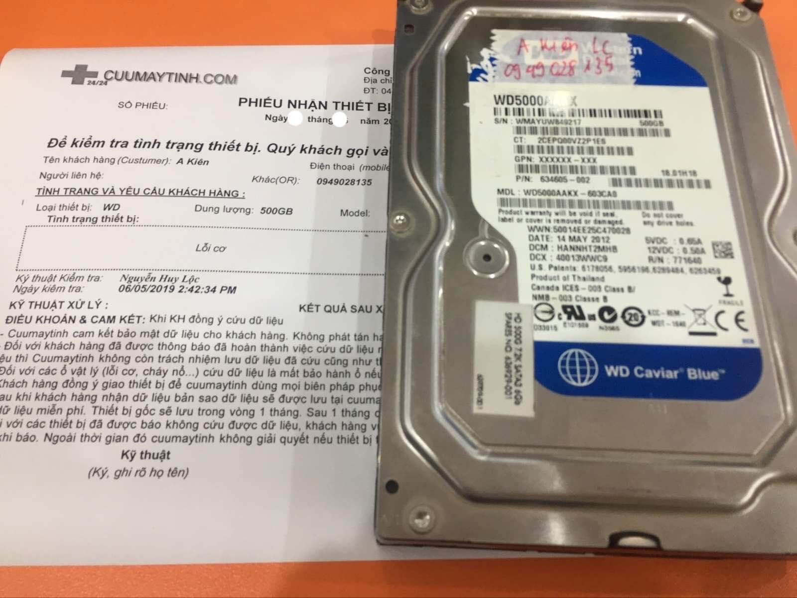 Cứu dữ liệu ổ cứng Western 500GB lỗi cơ 24/07/2019 - cuumaytinh
