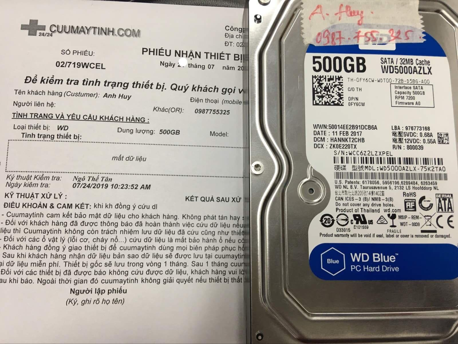 Cứu dữ liệu ổ cứng Western 500GB mất dữ liệu 27/07/2019 - cuumaytinh