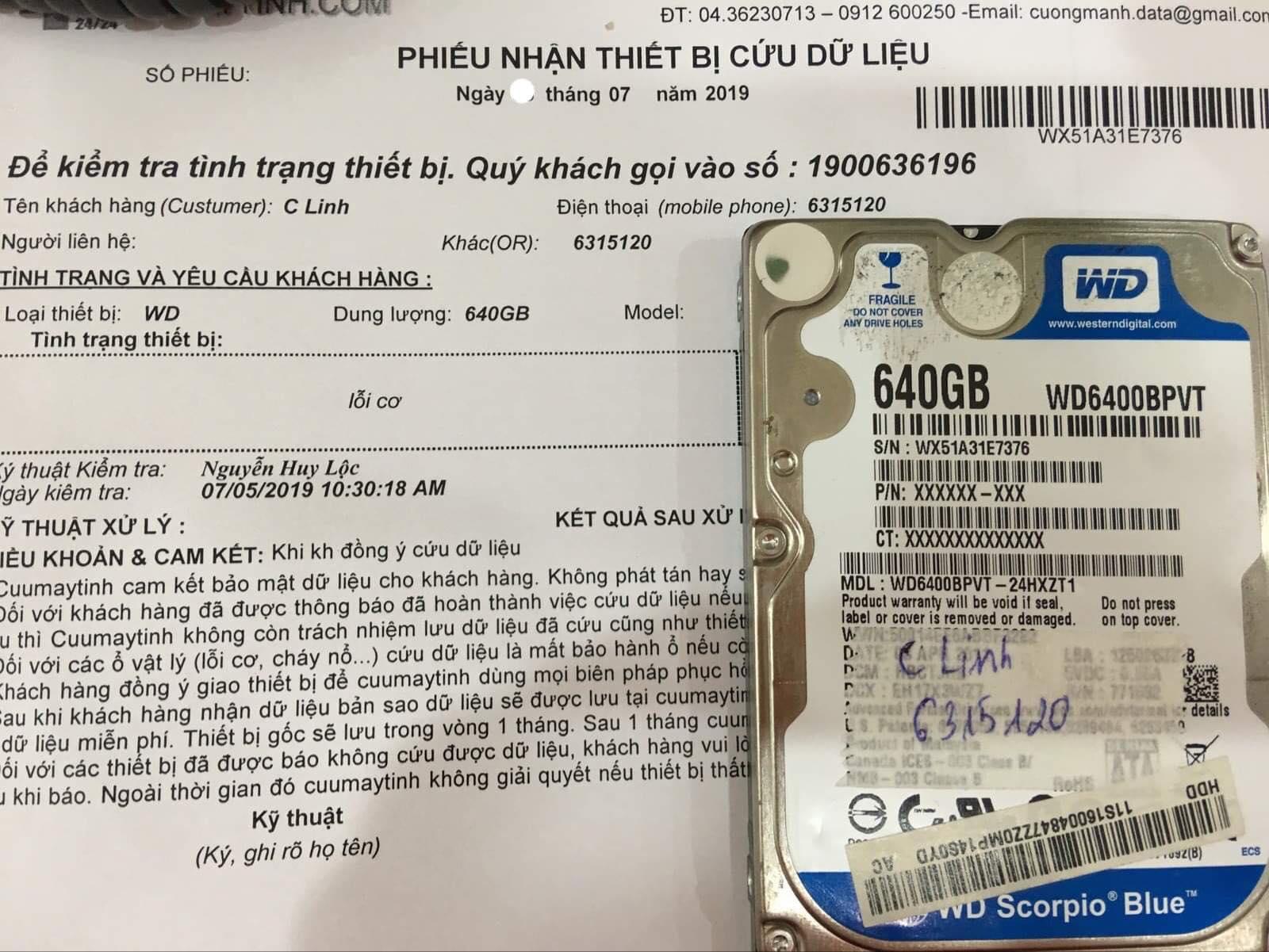 Cứu dữ liệu ổ cứng Western 640GB lỗi cơ 19/07/2019 - cuumaytinh
