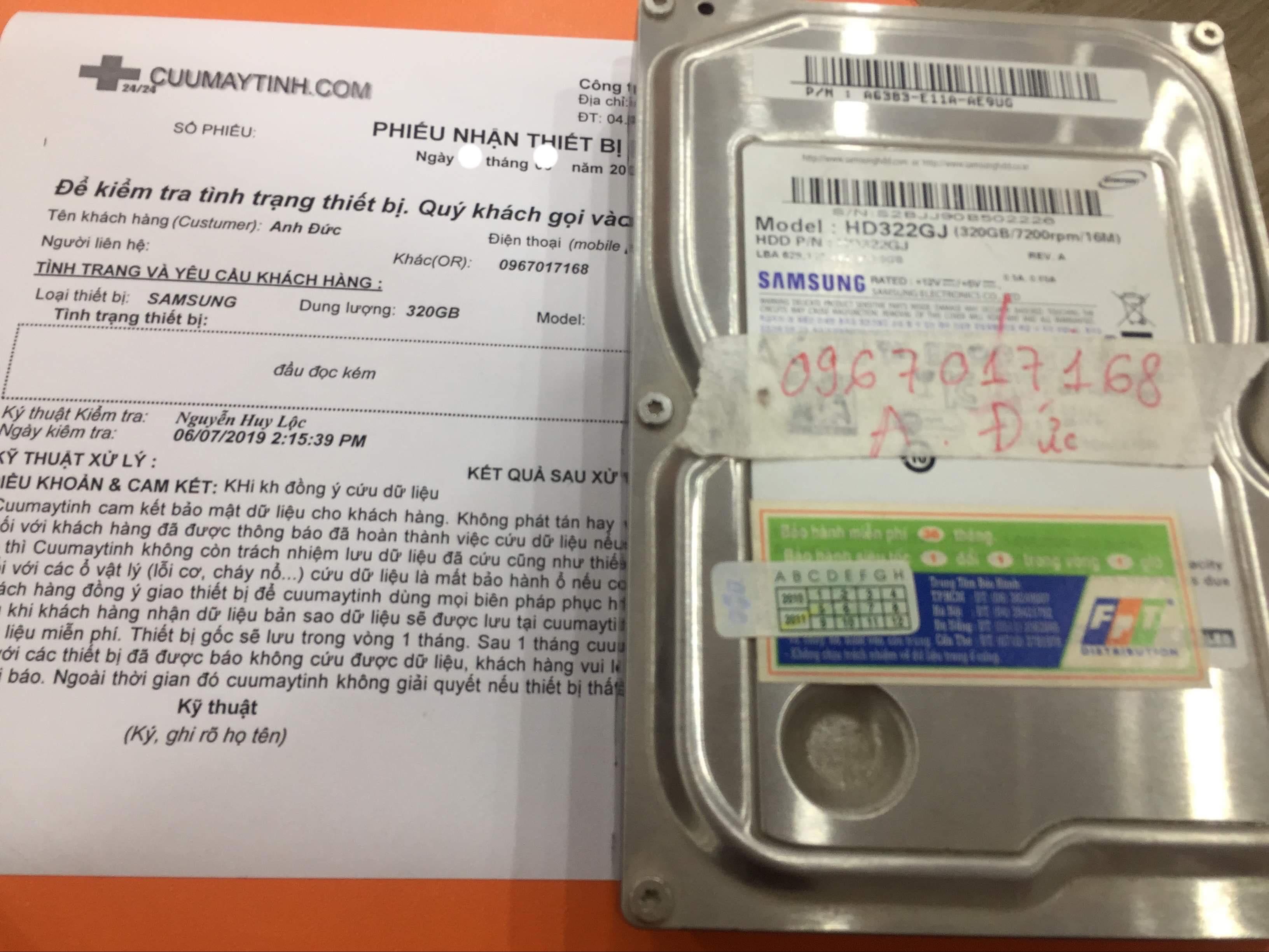 Cứu dữ liệu ổ cứng Samsung 320GB đầu đọc kém 08/07/2019 - cuumaytinh