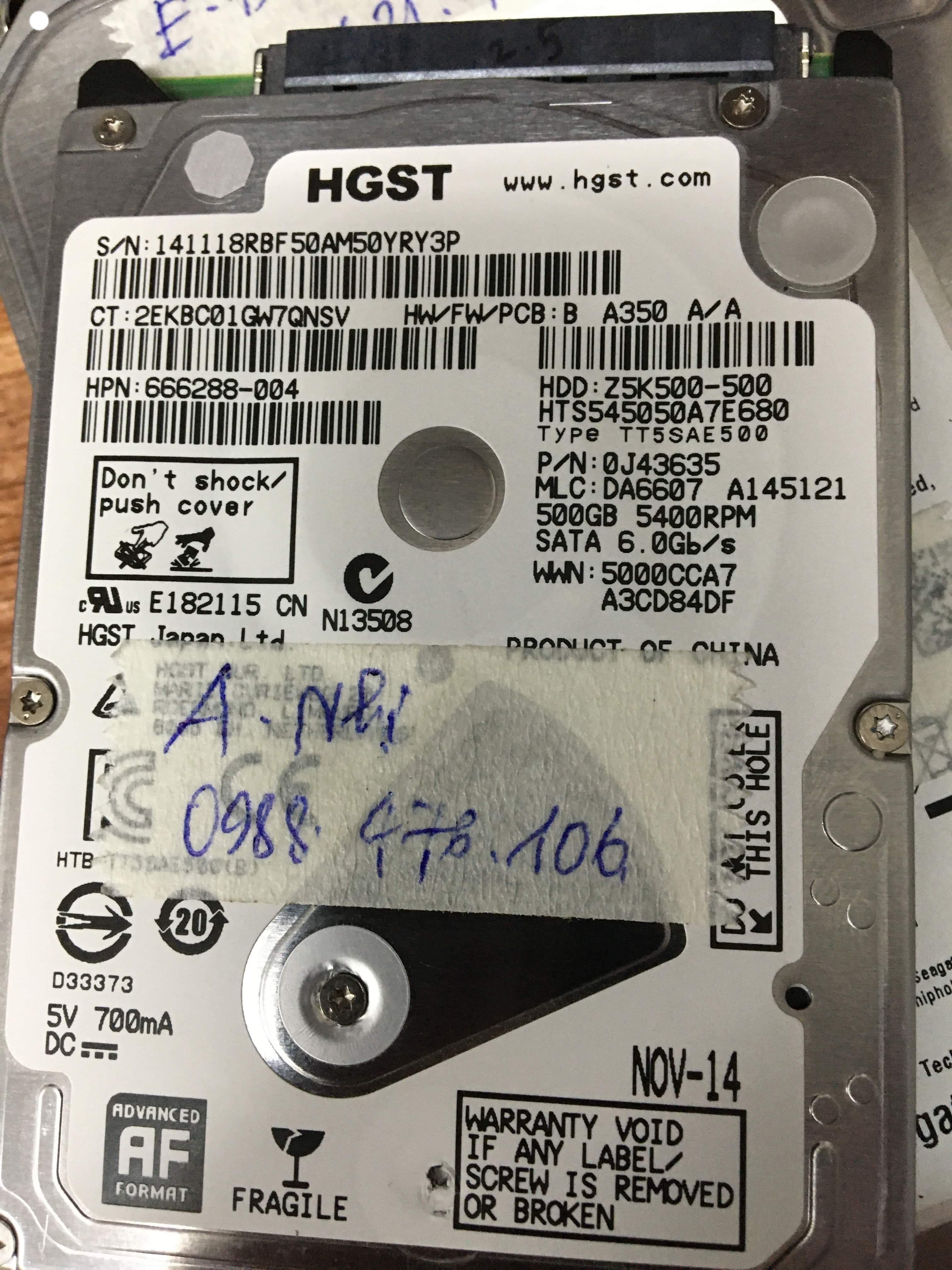 Khôi phục dữ liệu ổ cứng HGST 500GB không nhận 24/07/2019 - cuumaytinh