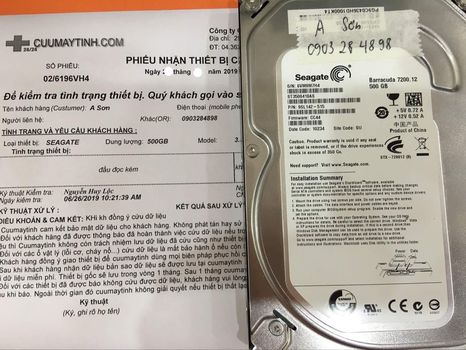 Khôi phục dữ liệu ổ cứng Seagate 500GB đầu đọc kém16/07/2019 - cuumaytinh
