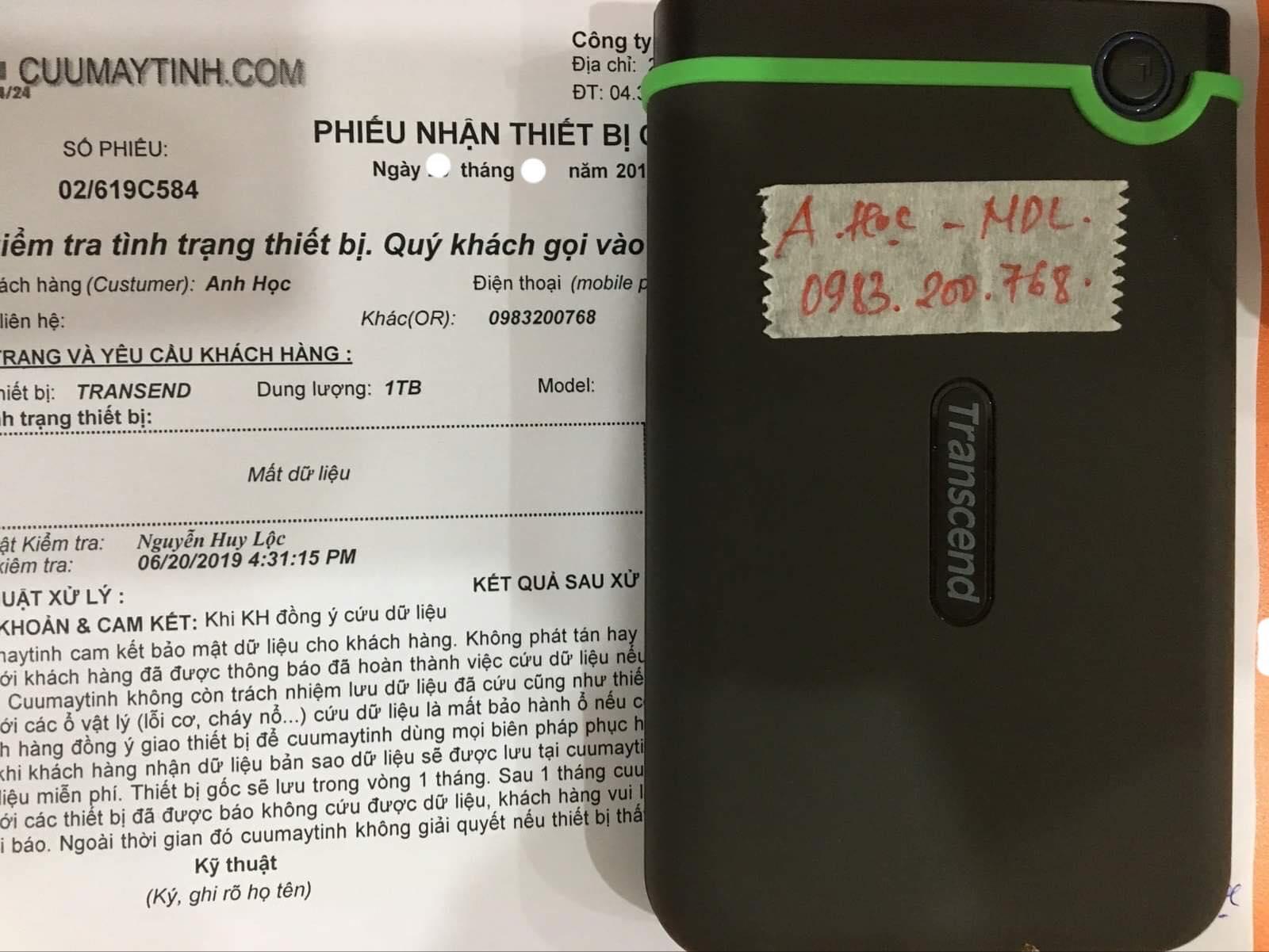 Lấy dữ liệu ổ cứng Box Transend 1TB format nhầm 02/07/2019 - cuumaytinh