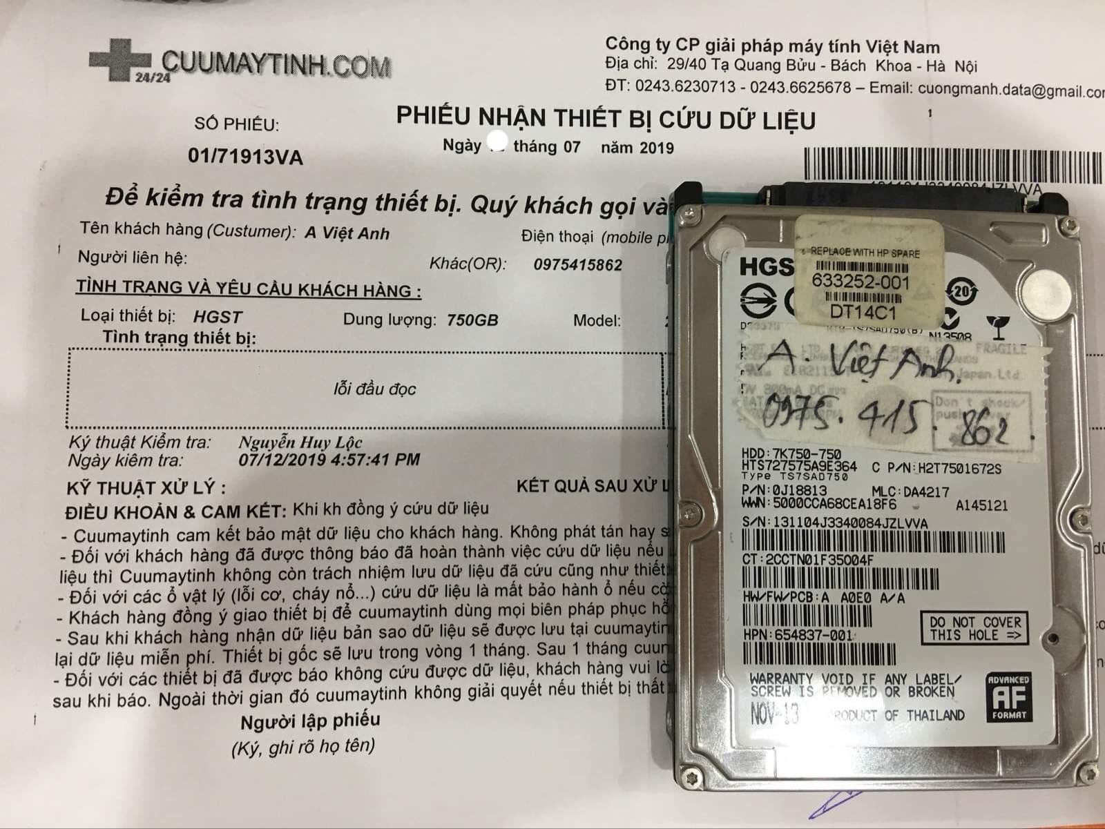 Lấy dữ liệu ổ cứng HGST 750GB lỗi đầu đọc 23/07/2019 - cuumaytinh