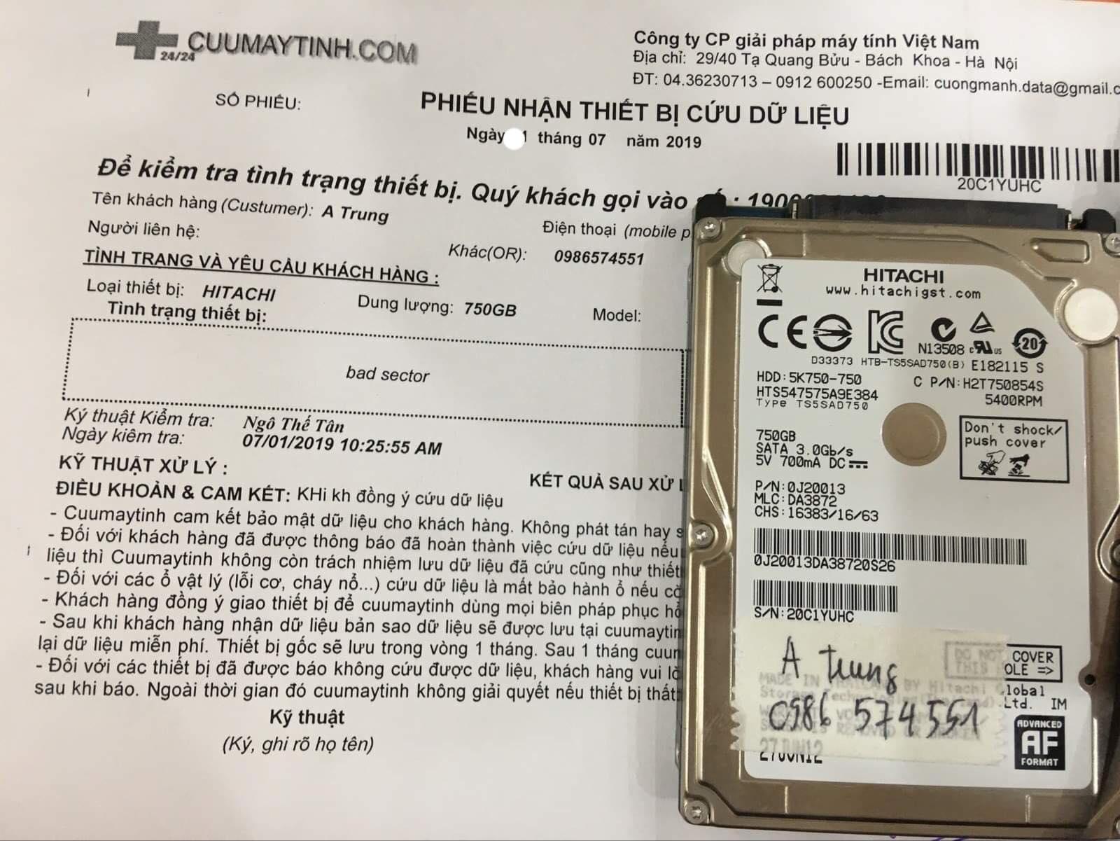 Lấy dữ liệu ổ cứng Hitachi 750GB bad15/07/2019 - cuumaytinh
