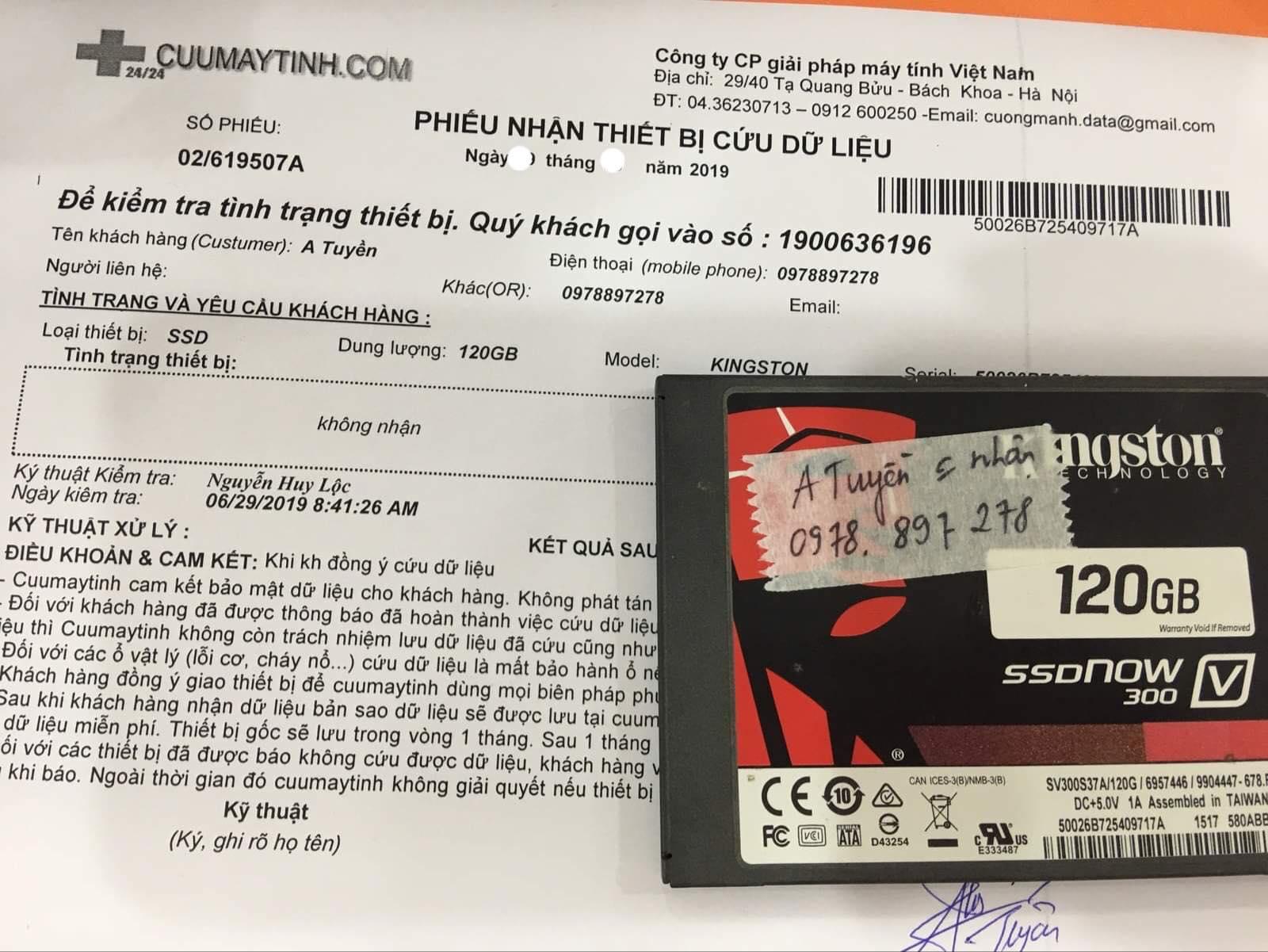 Lấy dữ liệu ổ cứng SSD Kingston 120GB không nhận 04/07/2019 - cuumaytinh