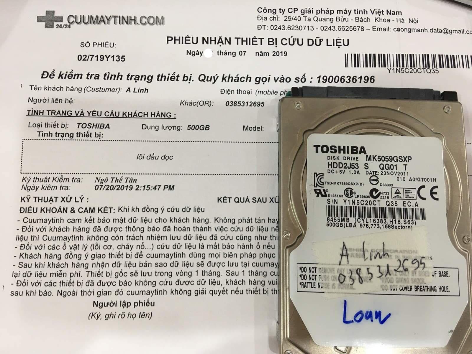Lấy dữ liệu ổ cứng Toshiba 500GB lỗi đầu đọc 27/07/2019 - cuumaytinh