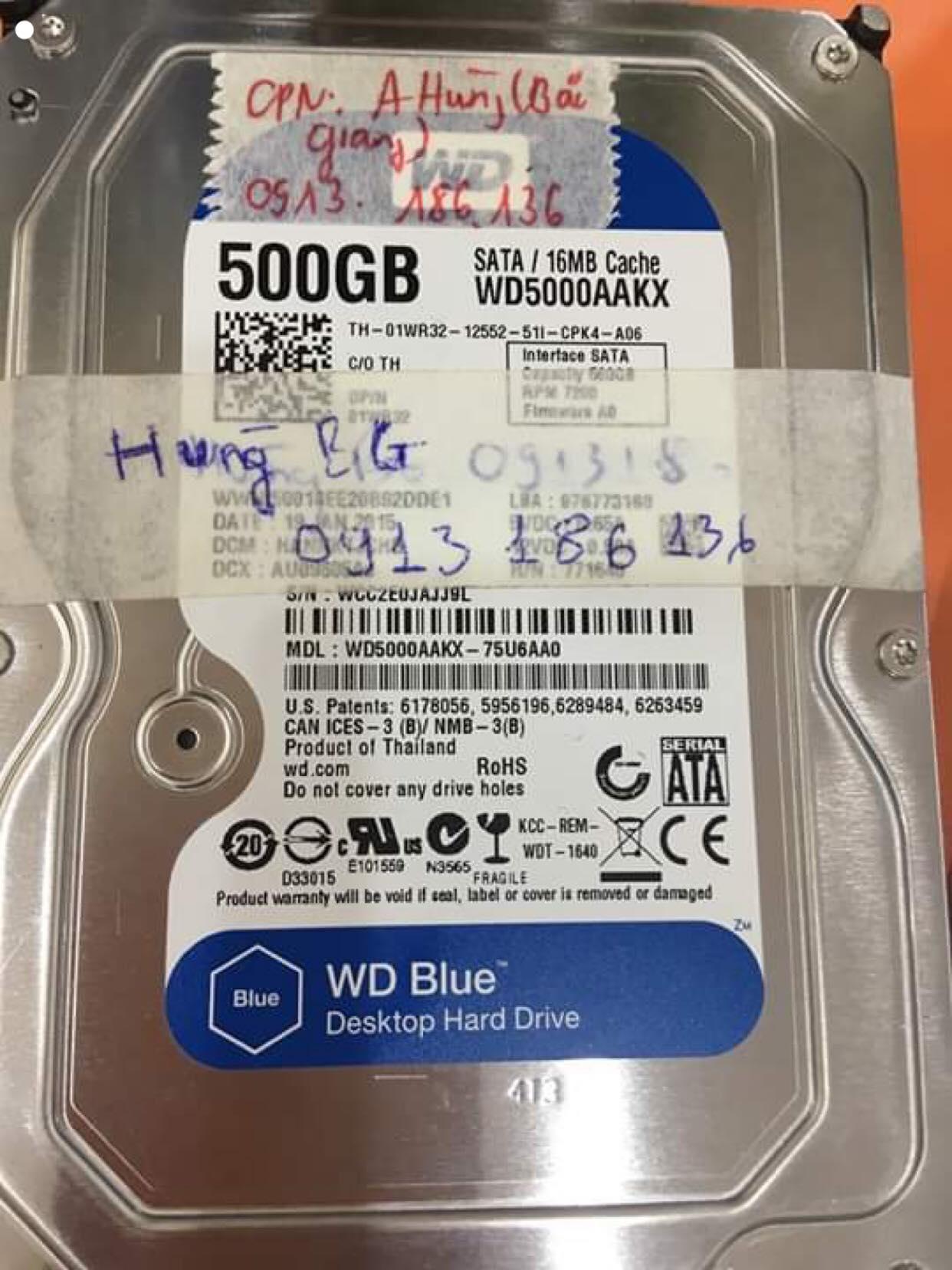 Lấy dữ liệu ổ cứng Western 500GB không nhận tại Bắc Giang 08/07/2019 - cuumaytinh