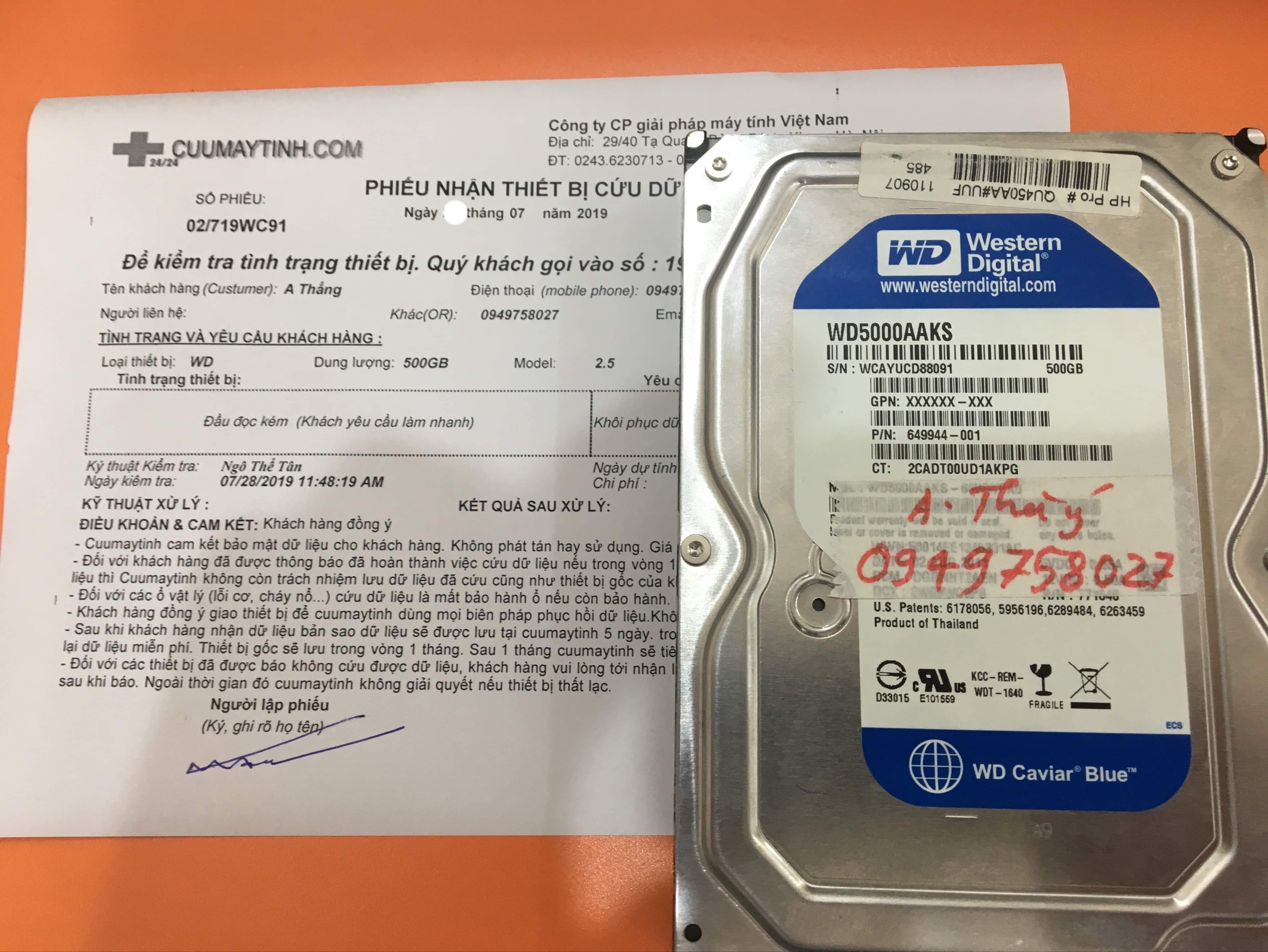 Lấy dữ liệu ổ cứng Western 500GB đầu đọc kém 29/07/2019 - cuumaytinh