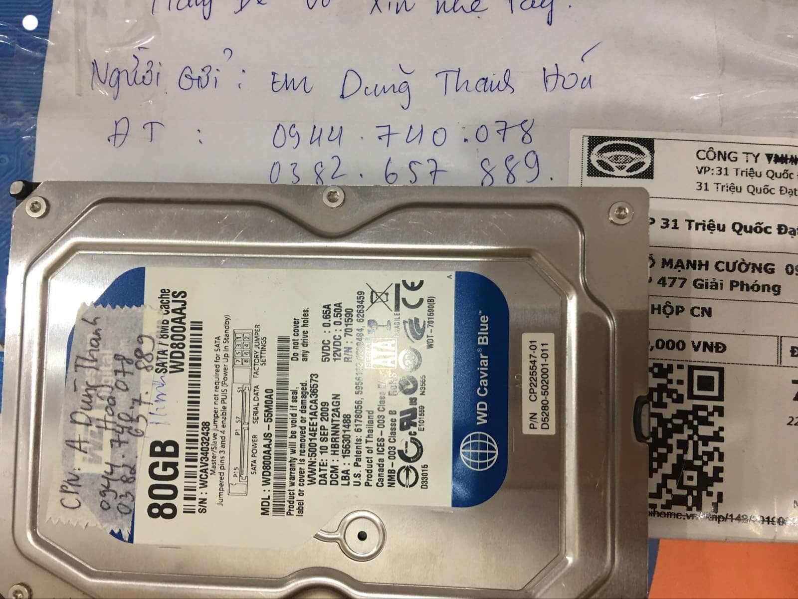 Lấy dữ liệu ổ cứng Western 80GB lỗi đầu đọc tại Thanh hóa 09/07/2019 - cuumaytinh