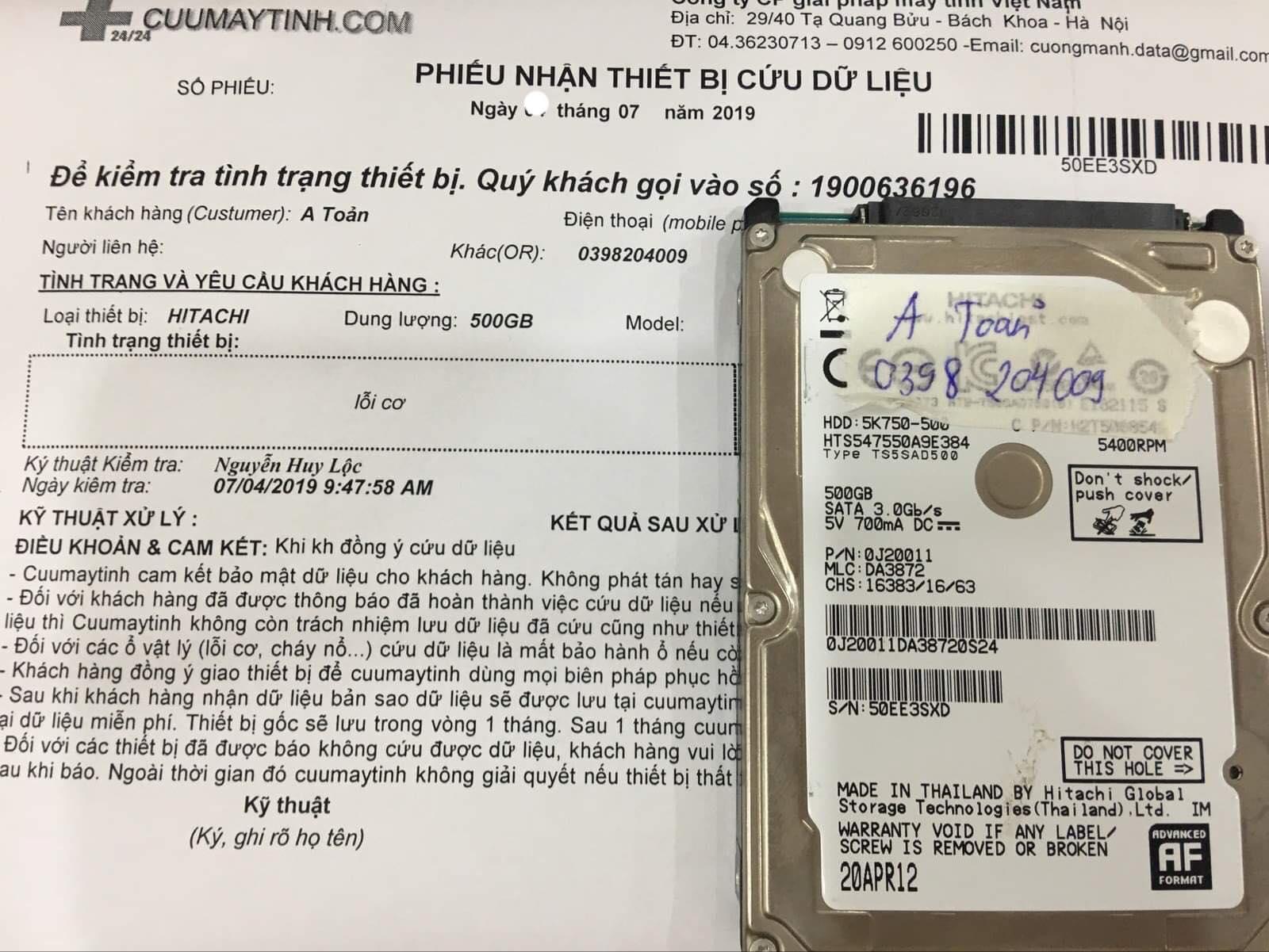 Lấy dữ liệu ổ cứng Hitachi 500GB lỗi cơ 18/07/2019 - cuumaytinh