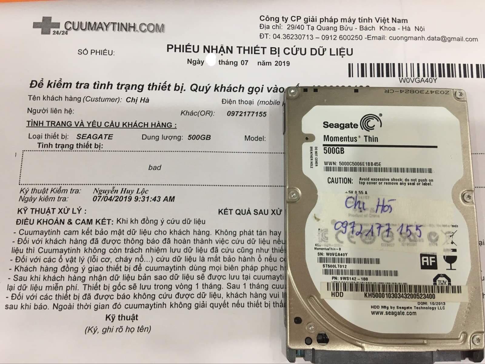 Phục hồi dữ liệu ổ cứng Seagate 500GB bad16/07/2019 - cuumaytinh