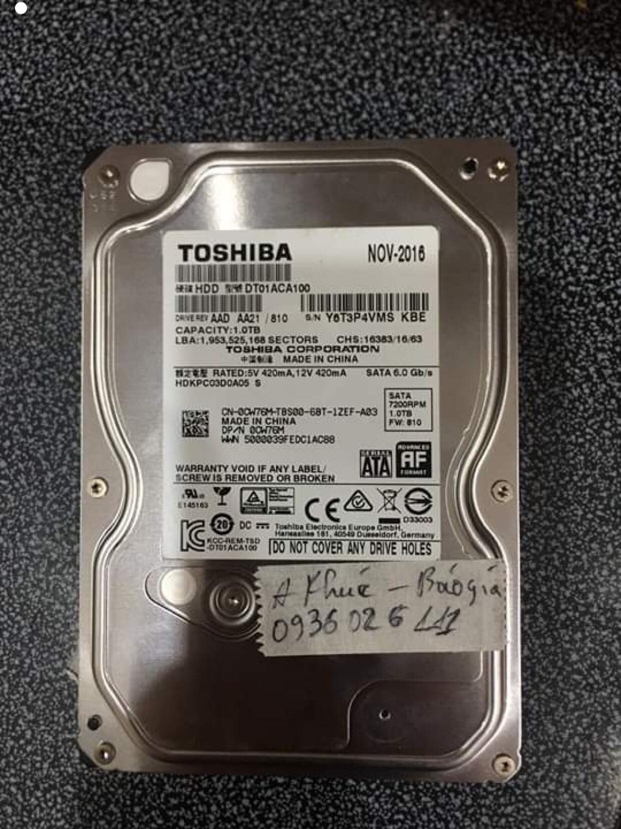 Phục hồi dữ liệu ổ cứng Toshiba 1TB đầu đọc kém 25/07/2019 - cuumaytinh