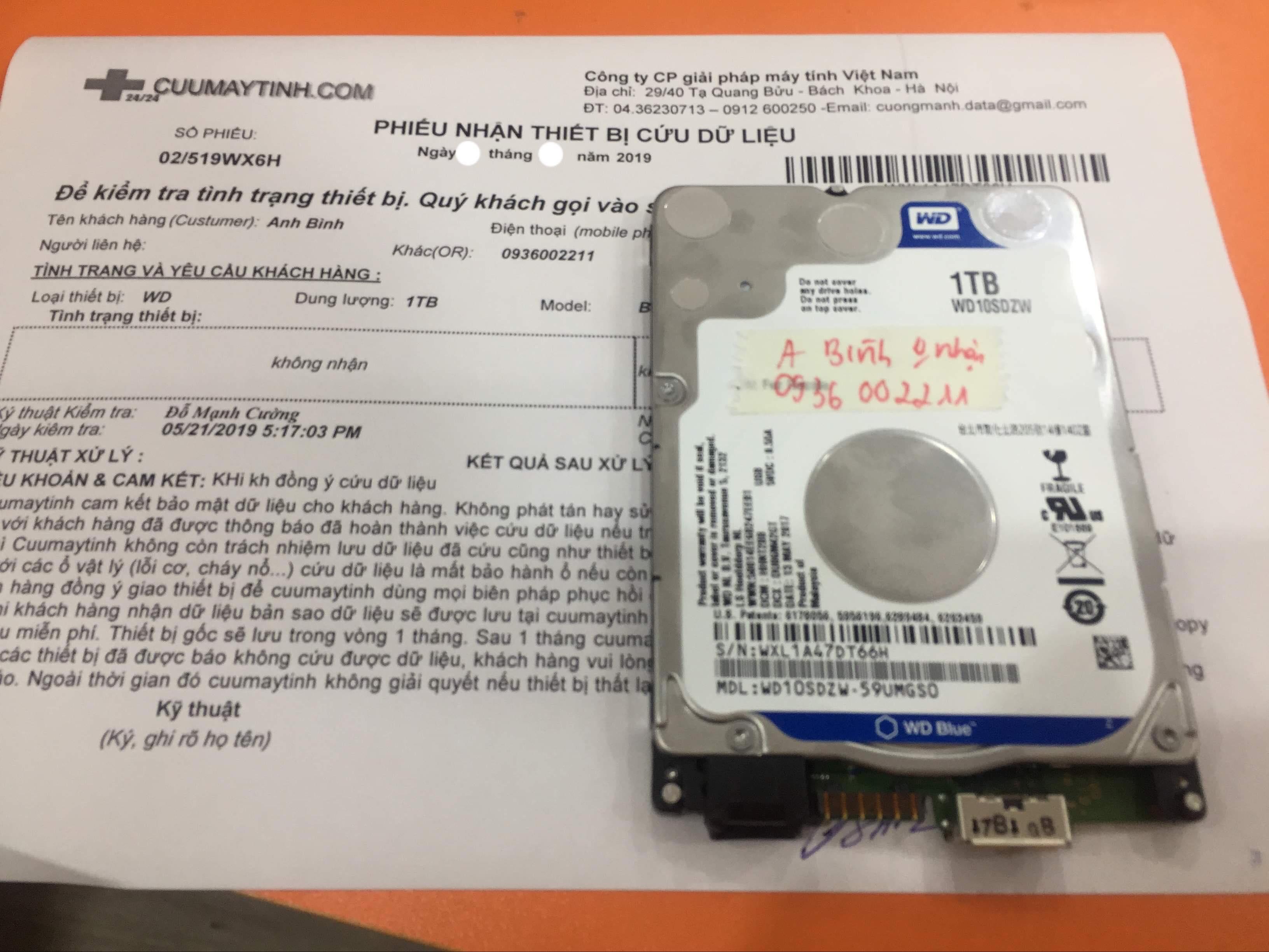 Phục hồi dữ liệu ổ cứng Western 1TB không nhận 05/07/2019 - cuumaytinh