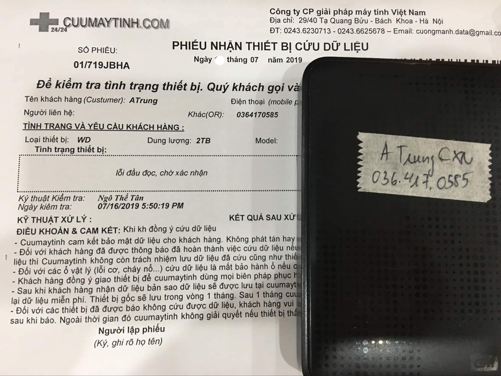 Phục hồi dữ liệu ổ cứng Western 2TB lỗi đầu đọc 27/07/2019 - cuumaytinh