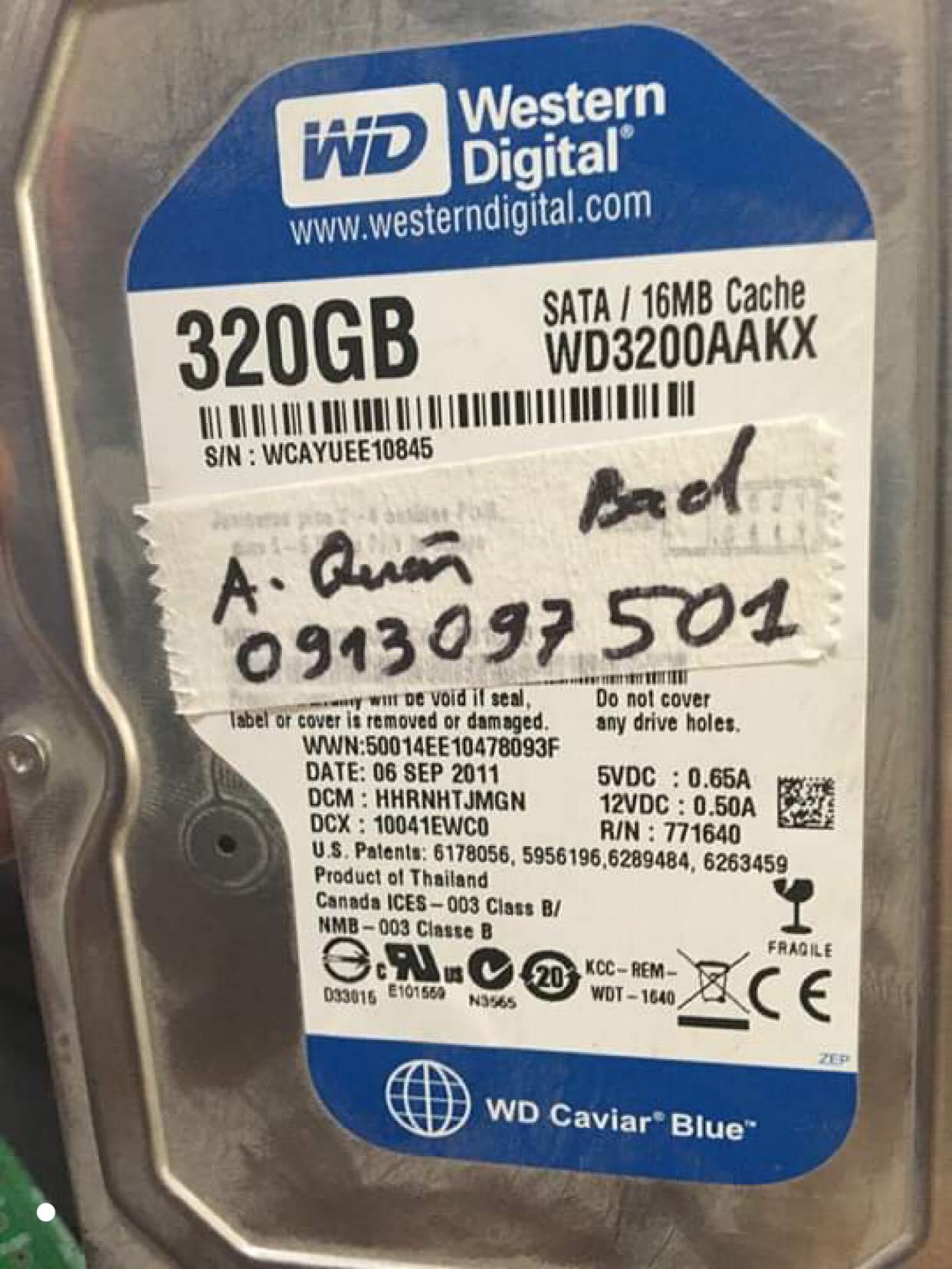 Phục hồi dữ liệu ổ cứng Western 320GB bad 12/07/2019 - cuumaytinh