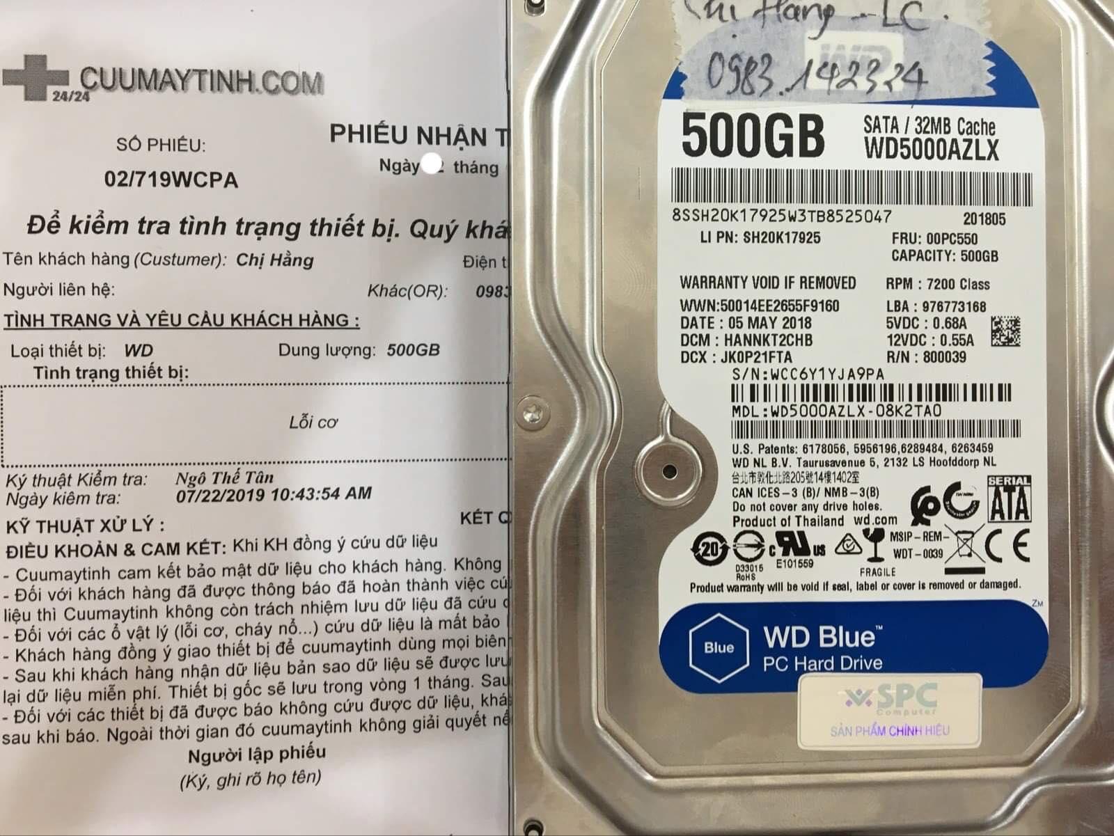 Phục hồi dữ liệu ổ cứng Western 500GB lỗi cơ 26/07/2019 - cuumaytinh